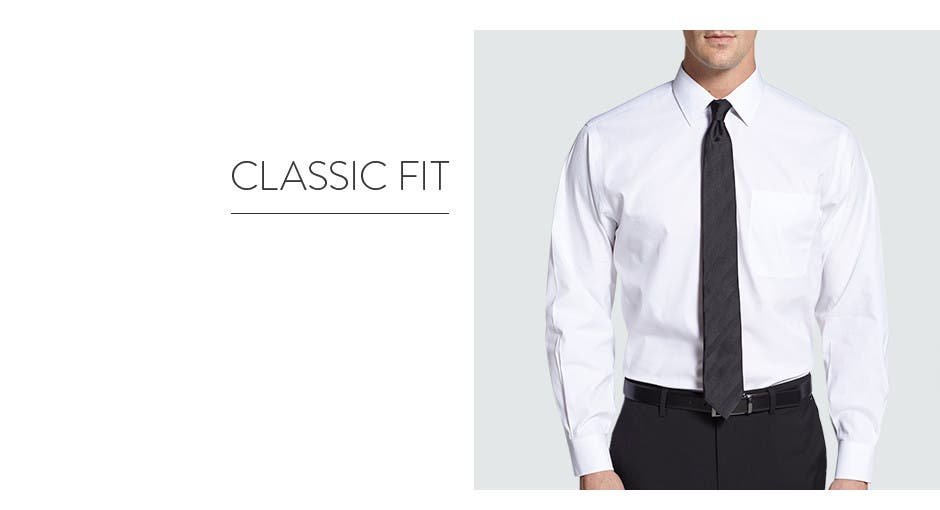 Many traditional-fit shirts feature box pleats at the base of the yoke for more comfortable movement. This silhouette may also be called a straight fit, natural fit, or classic fit. Slim Fit Dress Shirts. A dress shirt with a slim fit has marked tapering at the waist and may also have a .