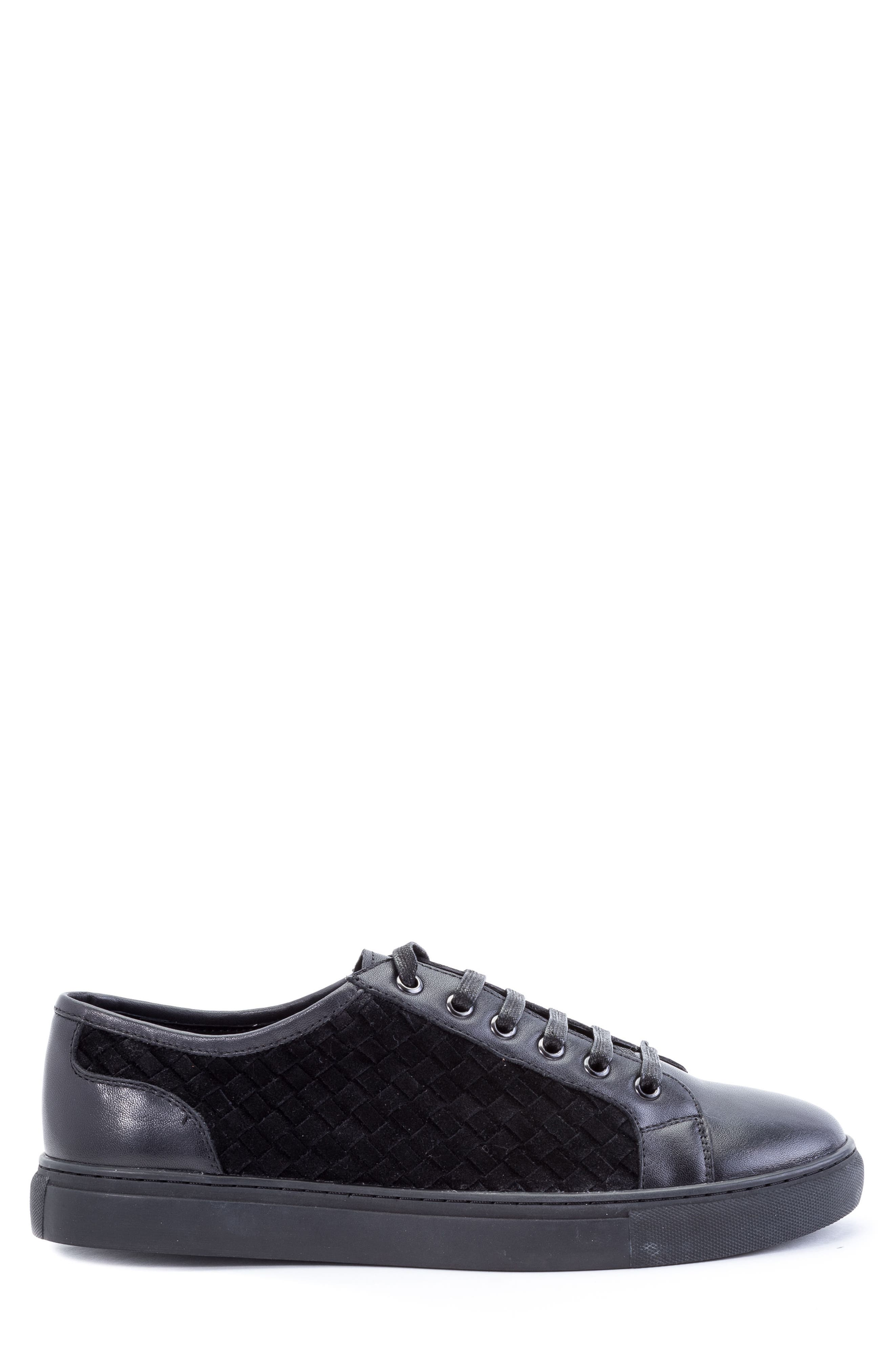 Player Woven Low Top Sneaker,                             Alternate thumbnail 3, color,                             BLACK LEATHER/ SUEDE