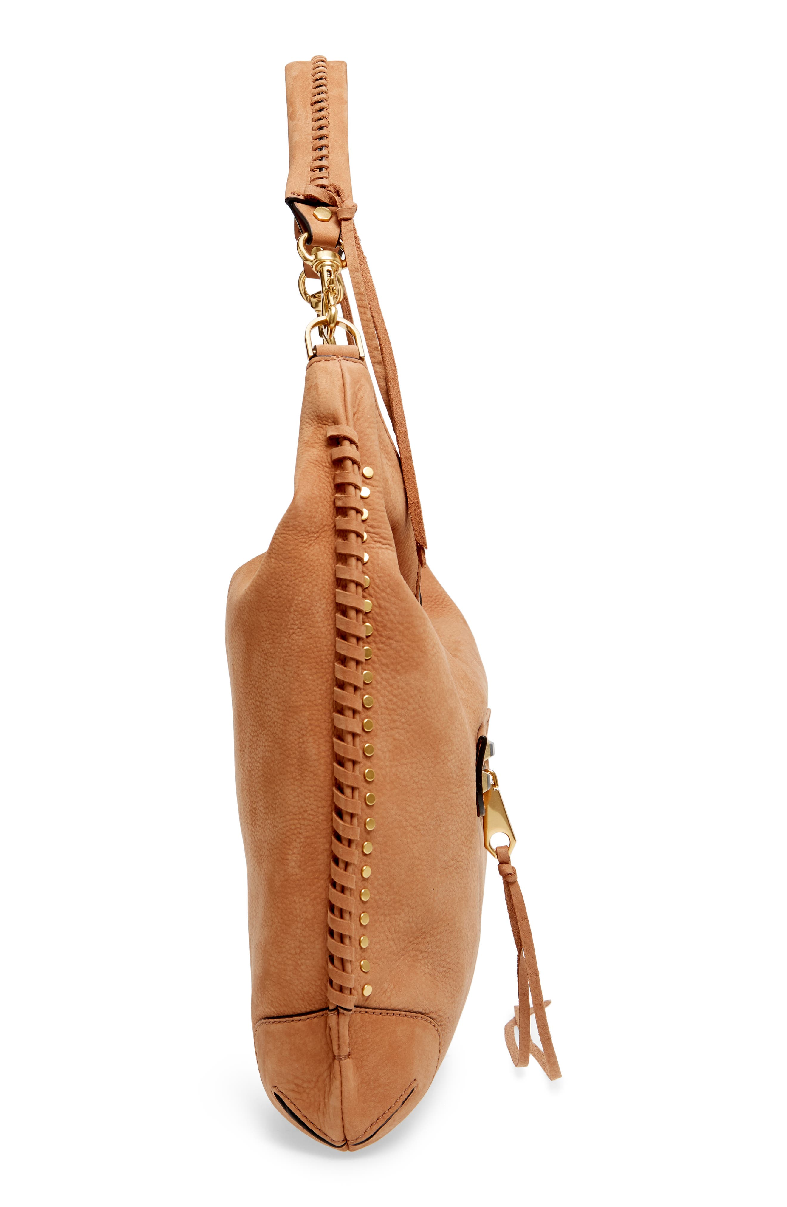 Slim Regan Leather Hobo,                             Alternate thumbnail 6, color,                             ALMOND