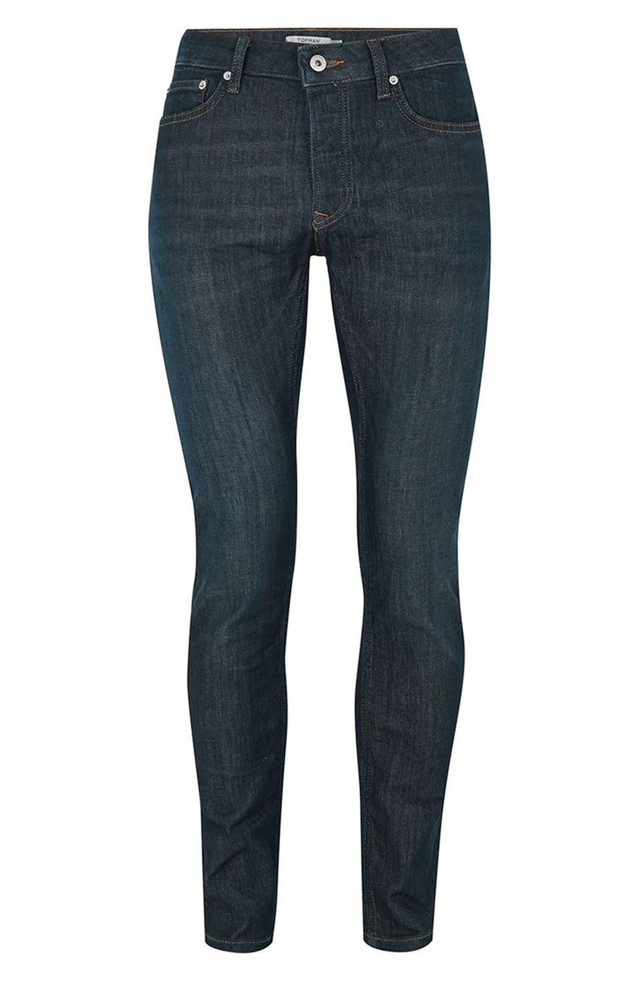 Coated Denim Skinny Jeans,                             Alternate thumbnail 4, color,                             BLUE