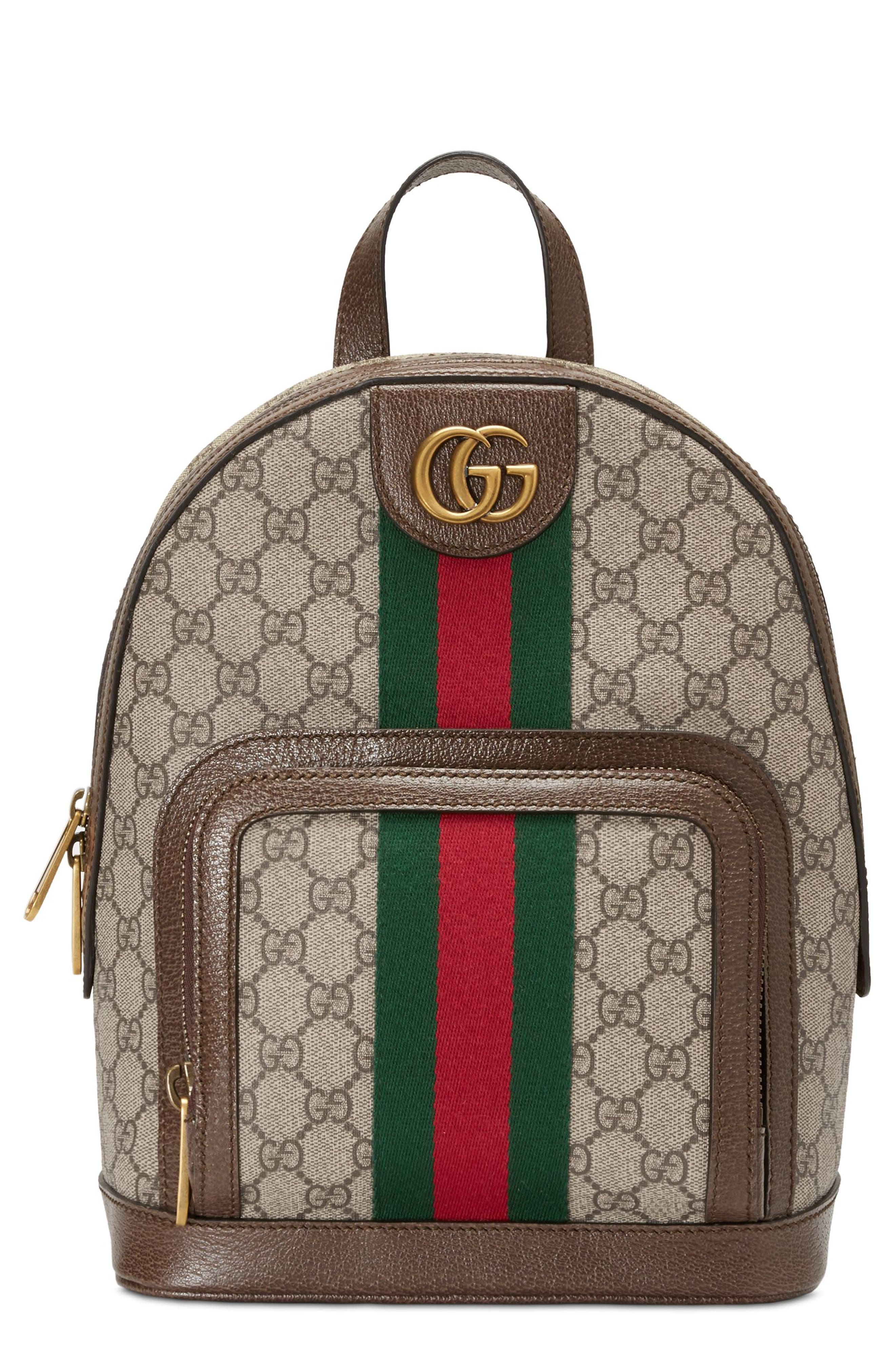 Small Ophidia GG Supreme Canvas Backpack,                         Main,                         color, BEIGE EBONY/ NEW ACERO