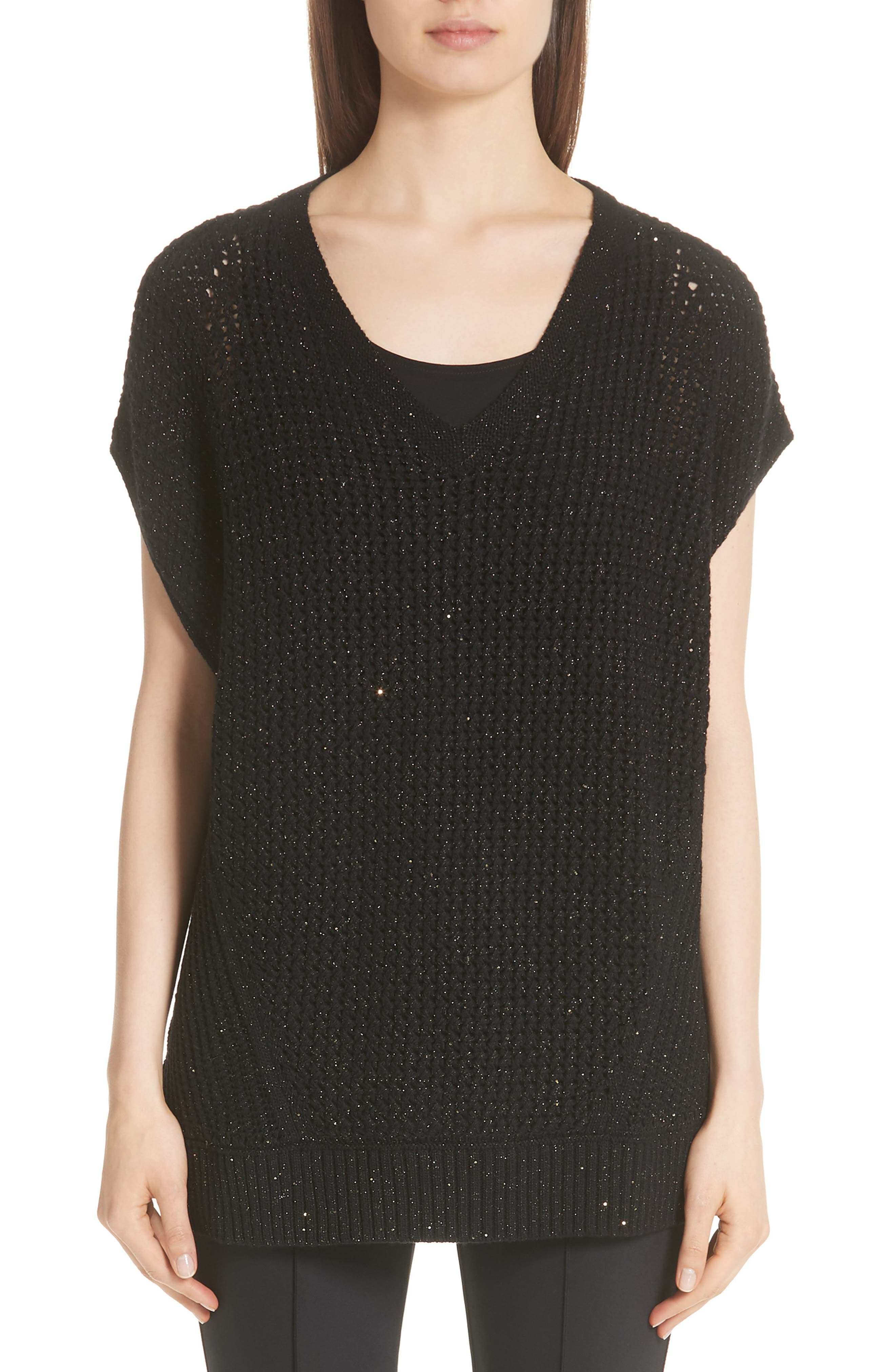 Lafayette 148 New York Metallic Wool, Silk & Cashmere Blend Sweater, Black