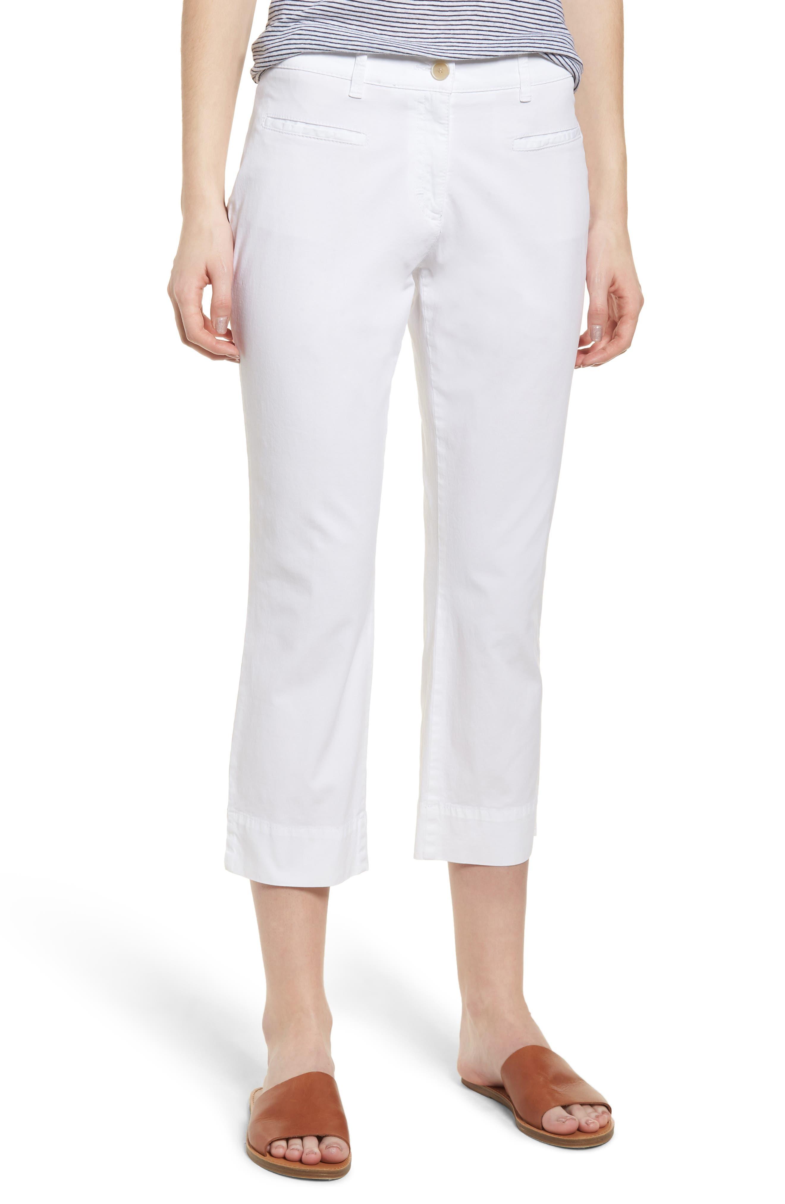 Sunny Stretch Cotton Slit Hem Pants,                         Main,                         color, 199