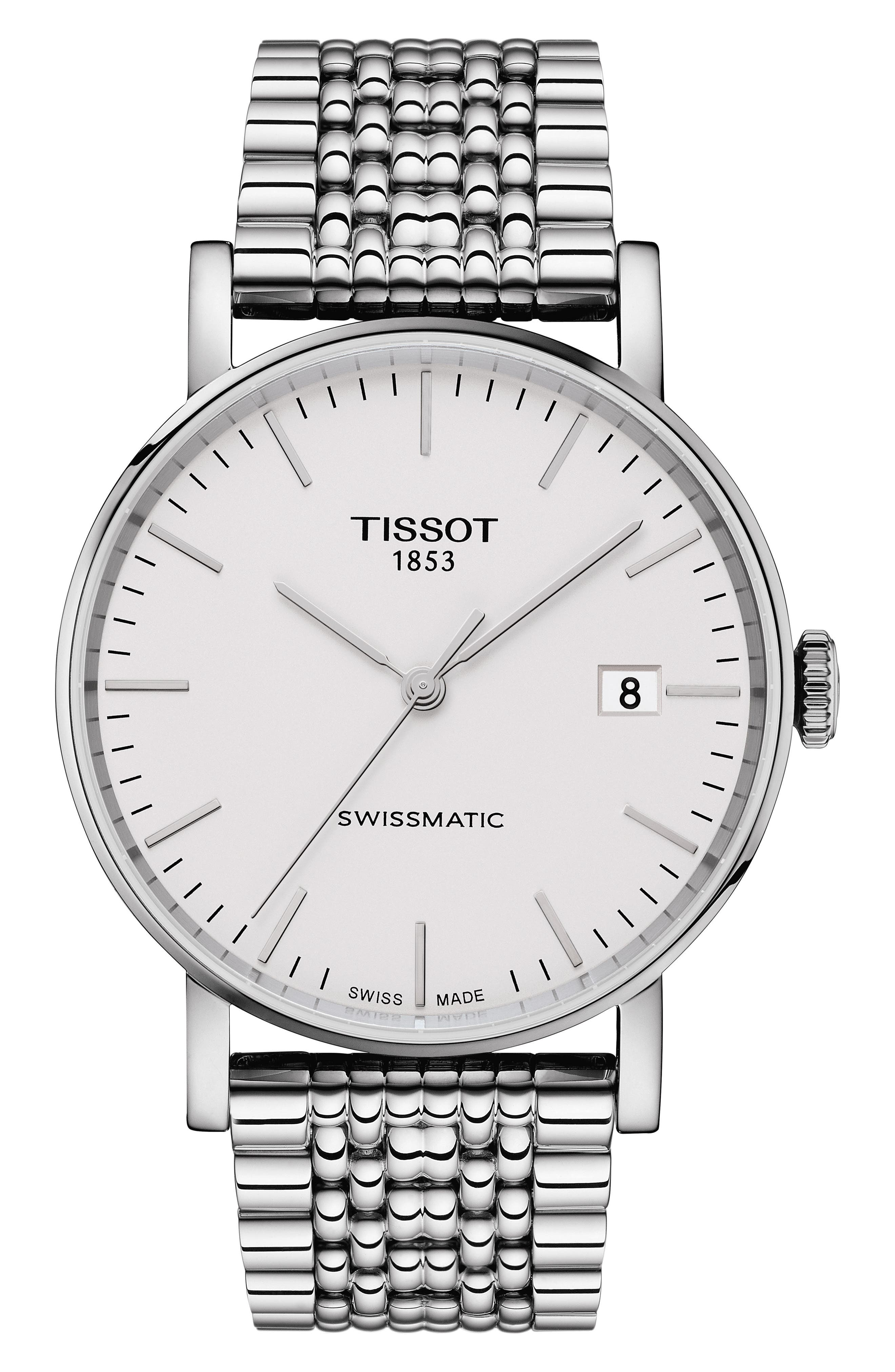 TISSOT,                             Everytime Swissmatic Automatic Bracelet Watch, 40mm,                             Main thumbnail 1, color,                             SILVER/ WHITE/ SILVER
