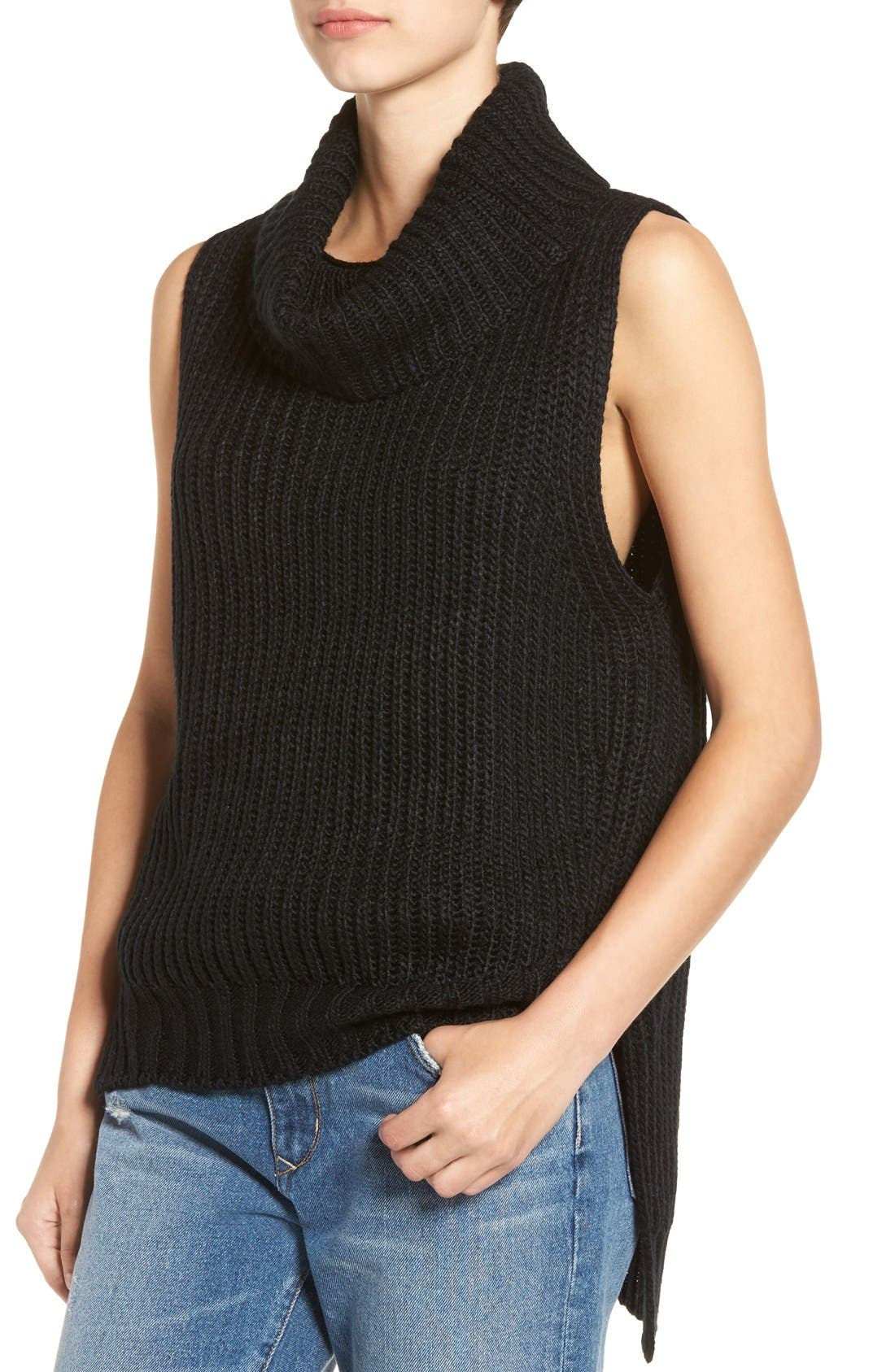 ASTR High/Low Turtleneck Sweater,                             Alternate thumbnail 6, color,                             001