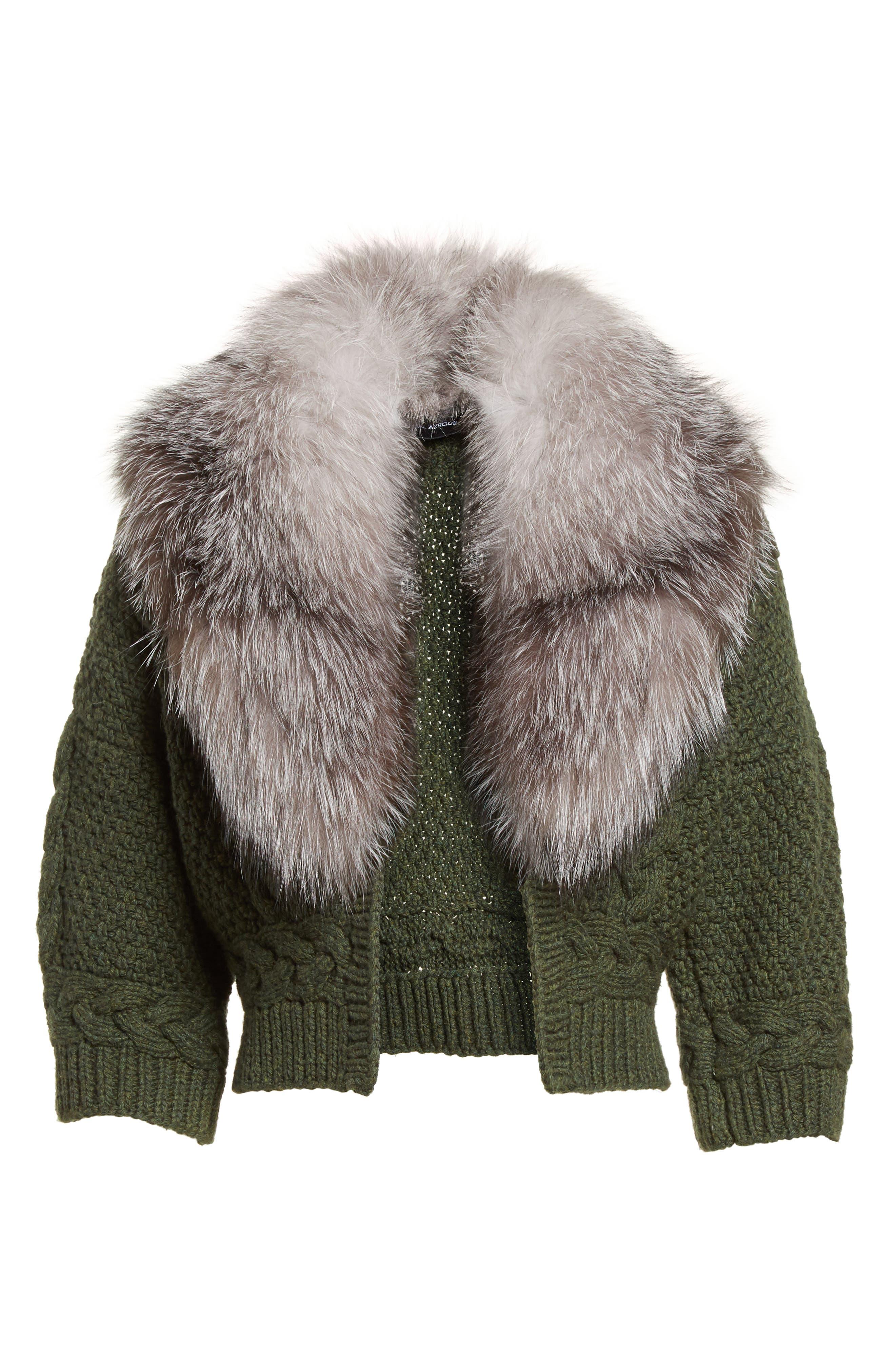 Merino Wool & Cashmere Knit Bolero with Removable Genuine Fox Fur Collar,                             Alternate thumbnail 6, color,                             087