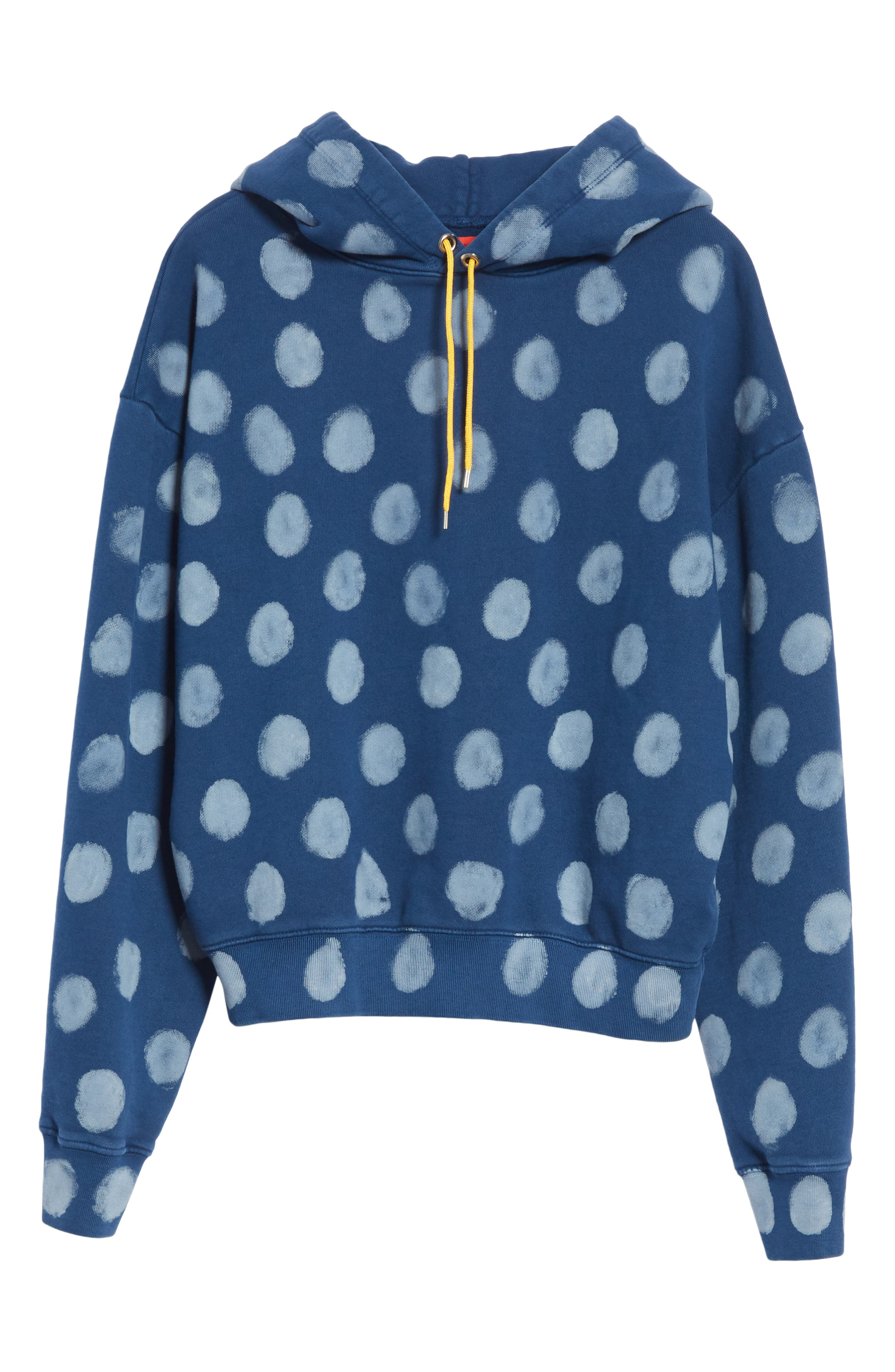 Crop Polka Dot Pullover Hoodie,                             Alternate thumbnail 6, color,                             400