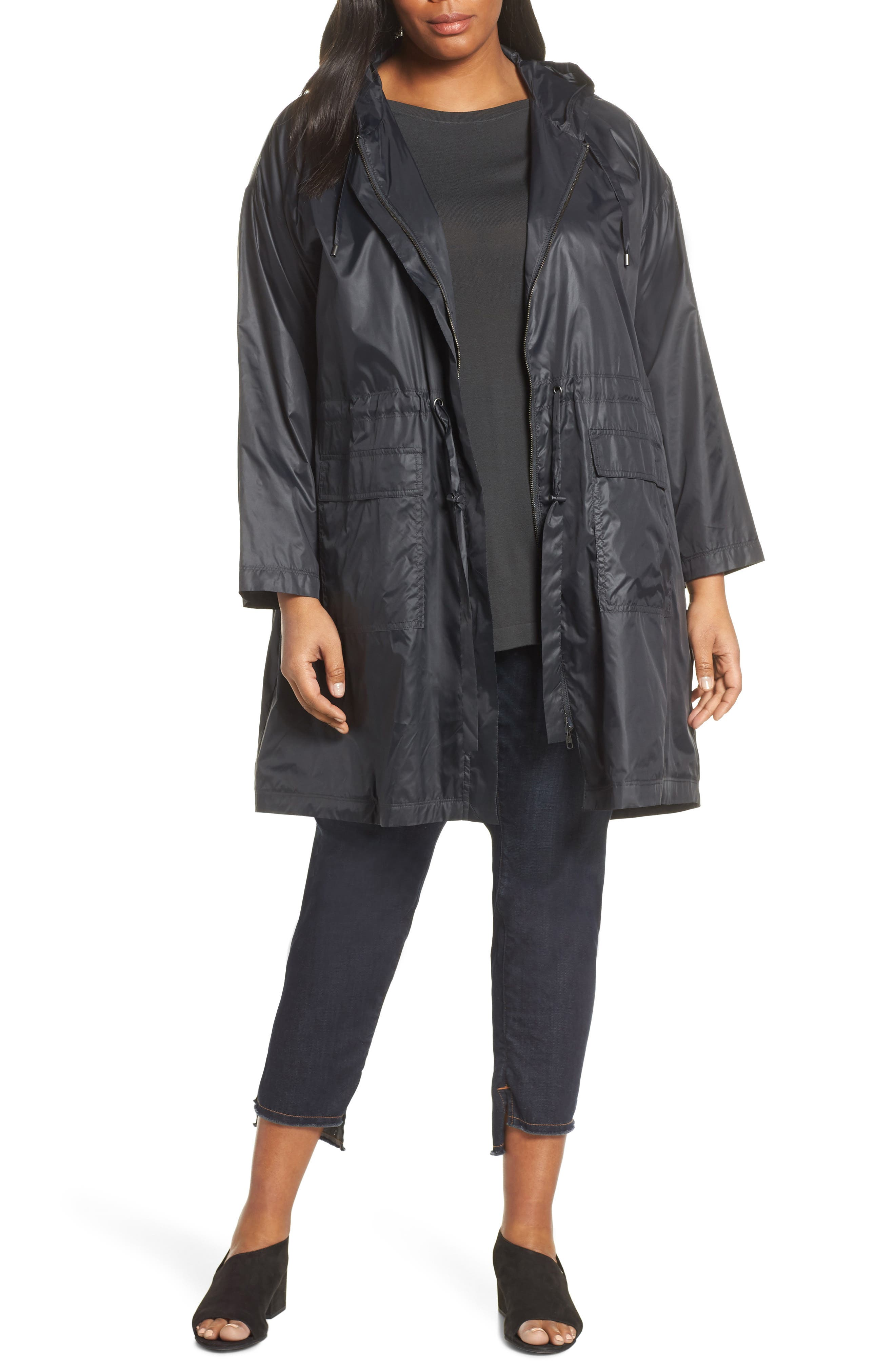 Eileen Fisher Jackets HOODED RECYCLED NYLON JACKET