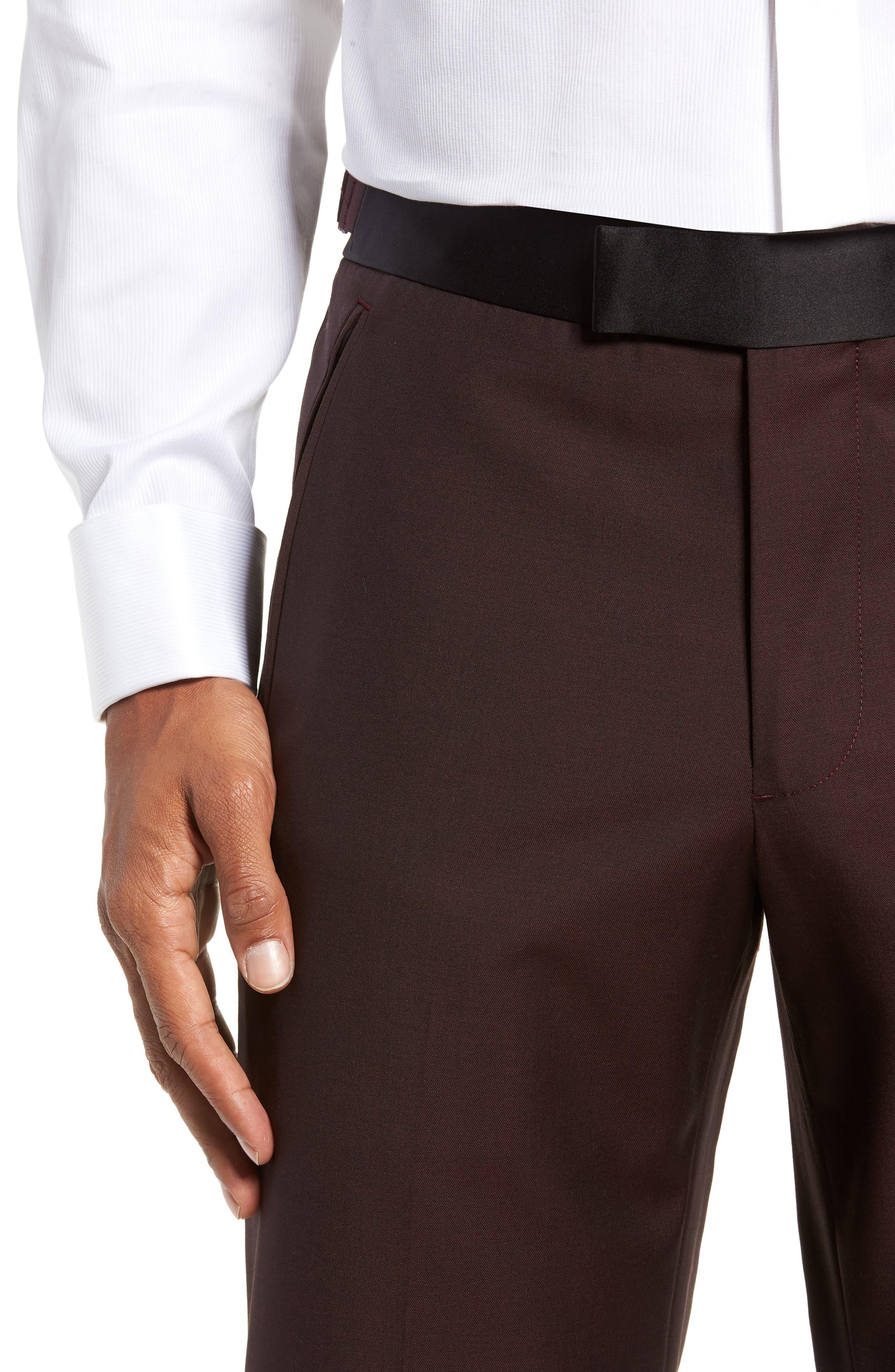 Capstone Slim Fit Tuxedo Trousers,                             Alternate thumbnail 4, color,                             MAROON
