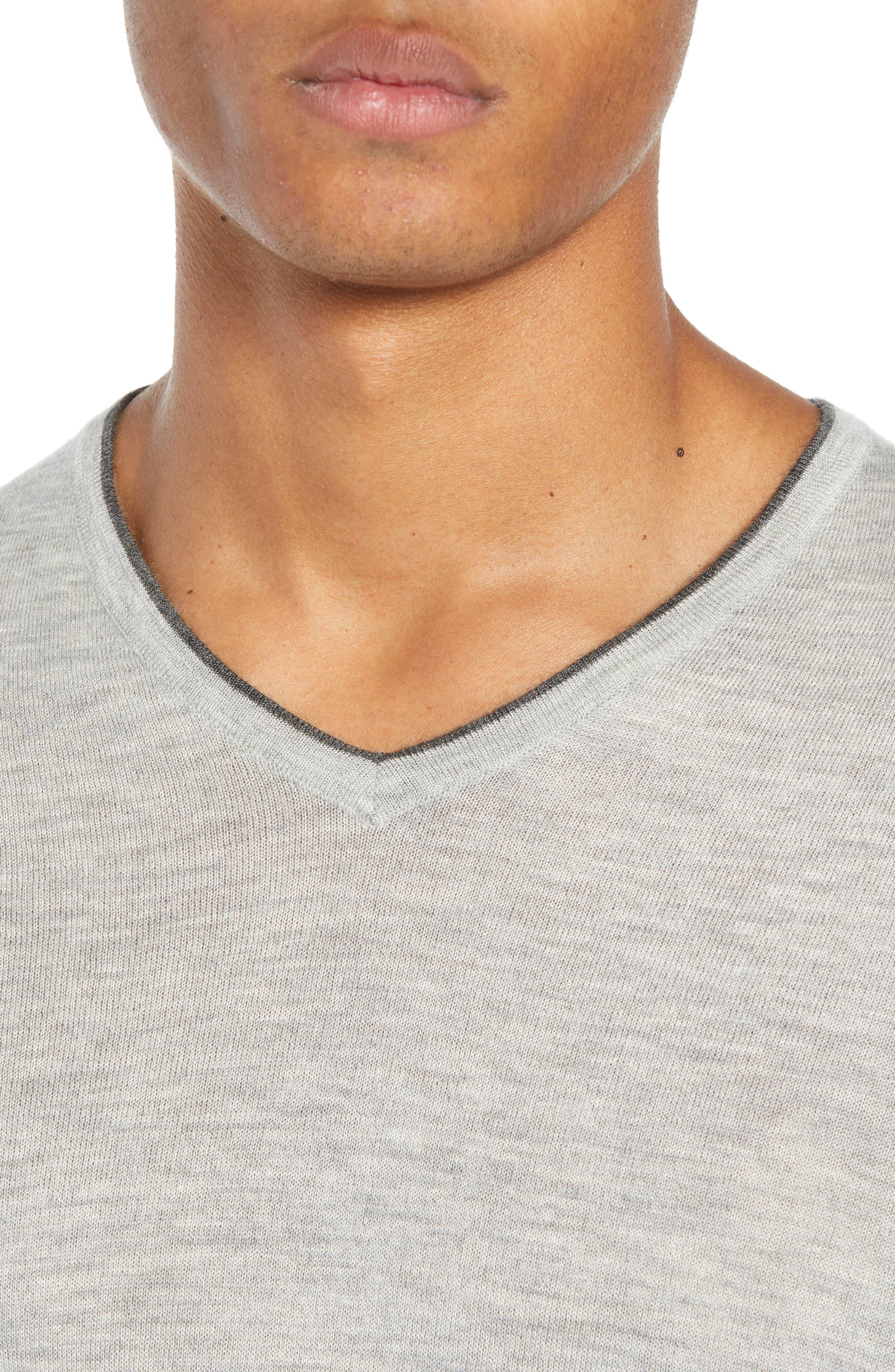 NORDSTROM SIGNATURE,                             Cashmere V-Neck Sweater,                             Alternate thumbnail 4, color,                             050