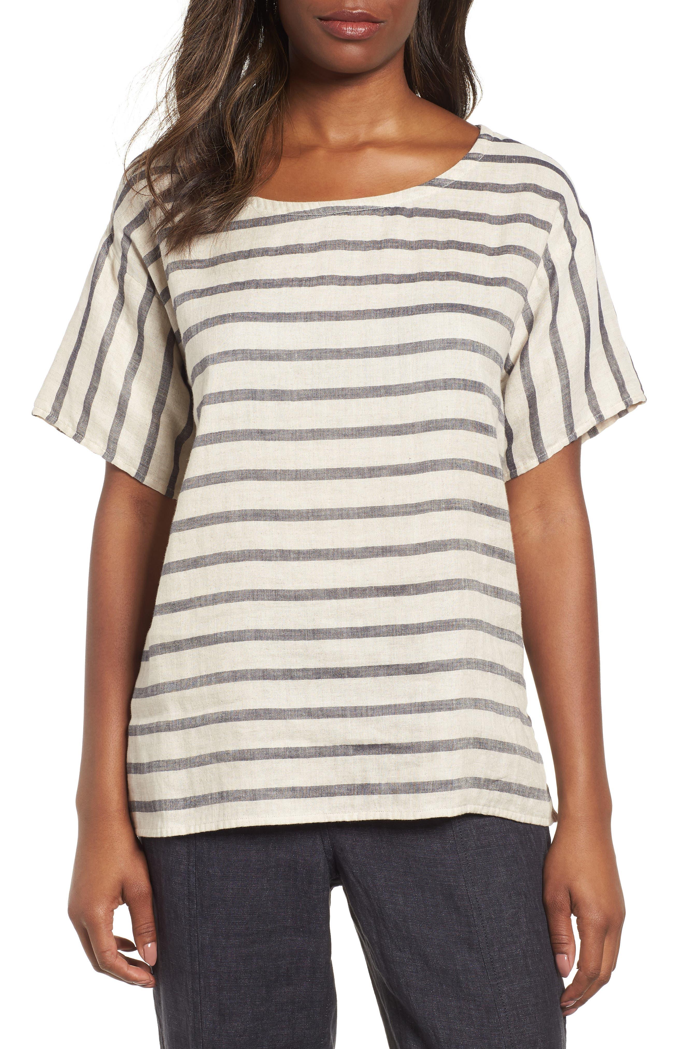 Stripe Linen & Organic Cotton Top,                             Main thumbnail 1, color,                             257