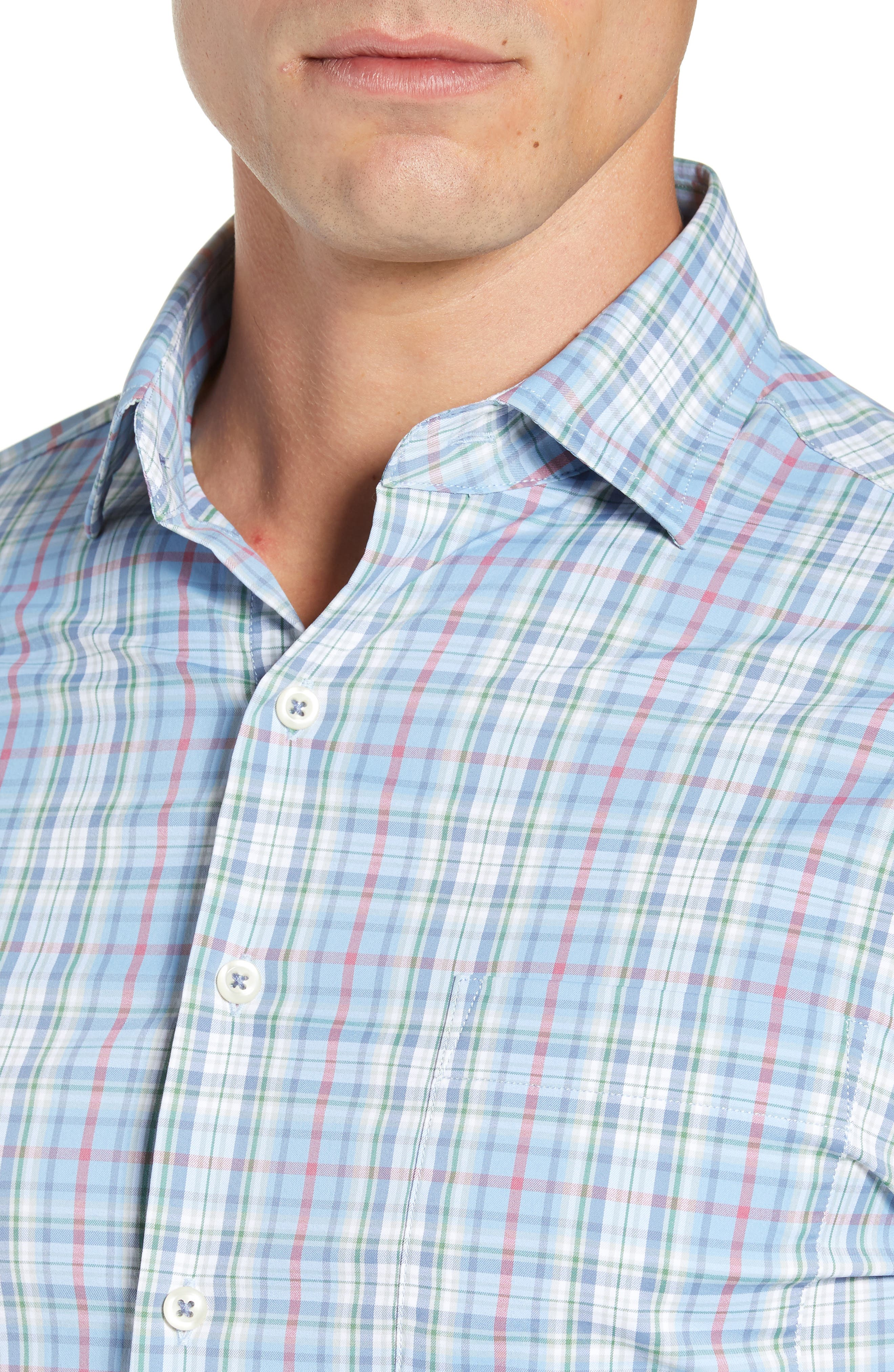 Wyatt Regular Fit Plaid Performance Sport Shirt,                             Alternate thumbnail 4, color,                             400