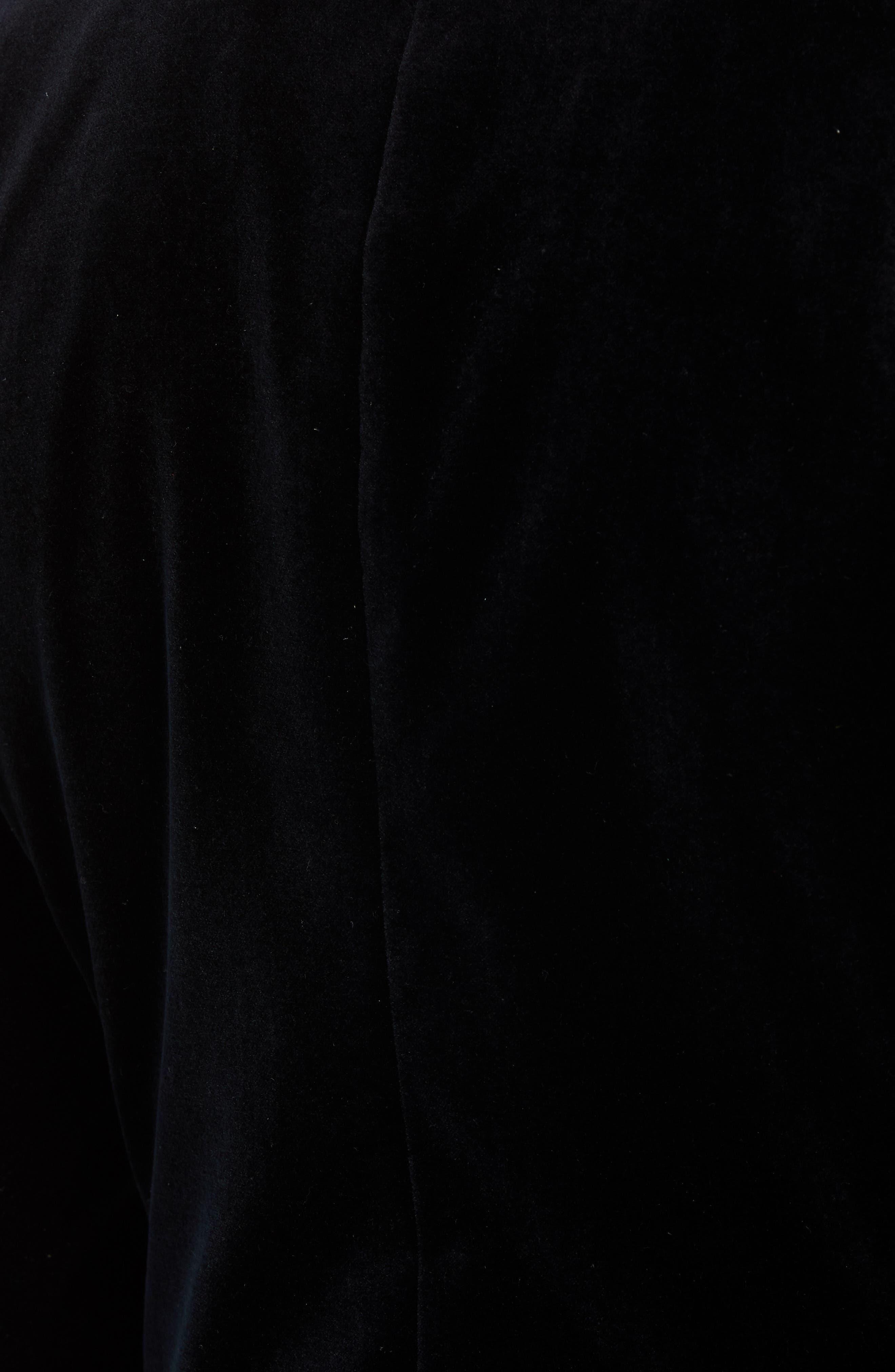 Jetsetter Trim Fit Stretch Velvet Dinner Jacket,                             Alternate thumbnail 6, color,                             BLACK