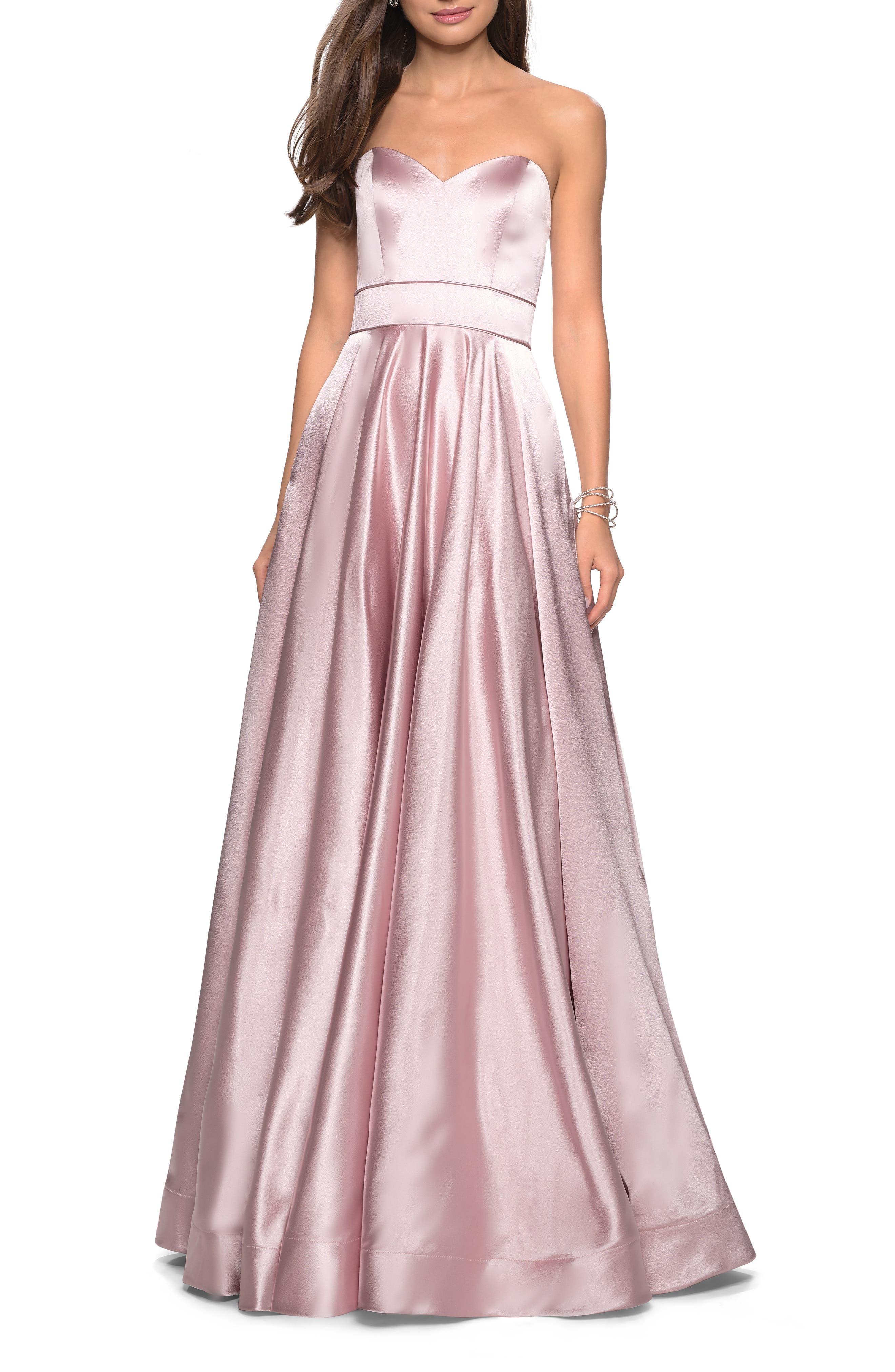 La Femme Strapless Satin Evening Dress, Pink