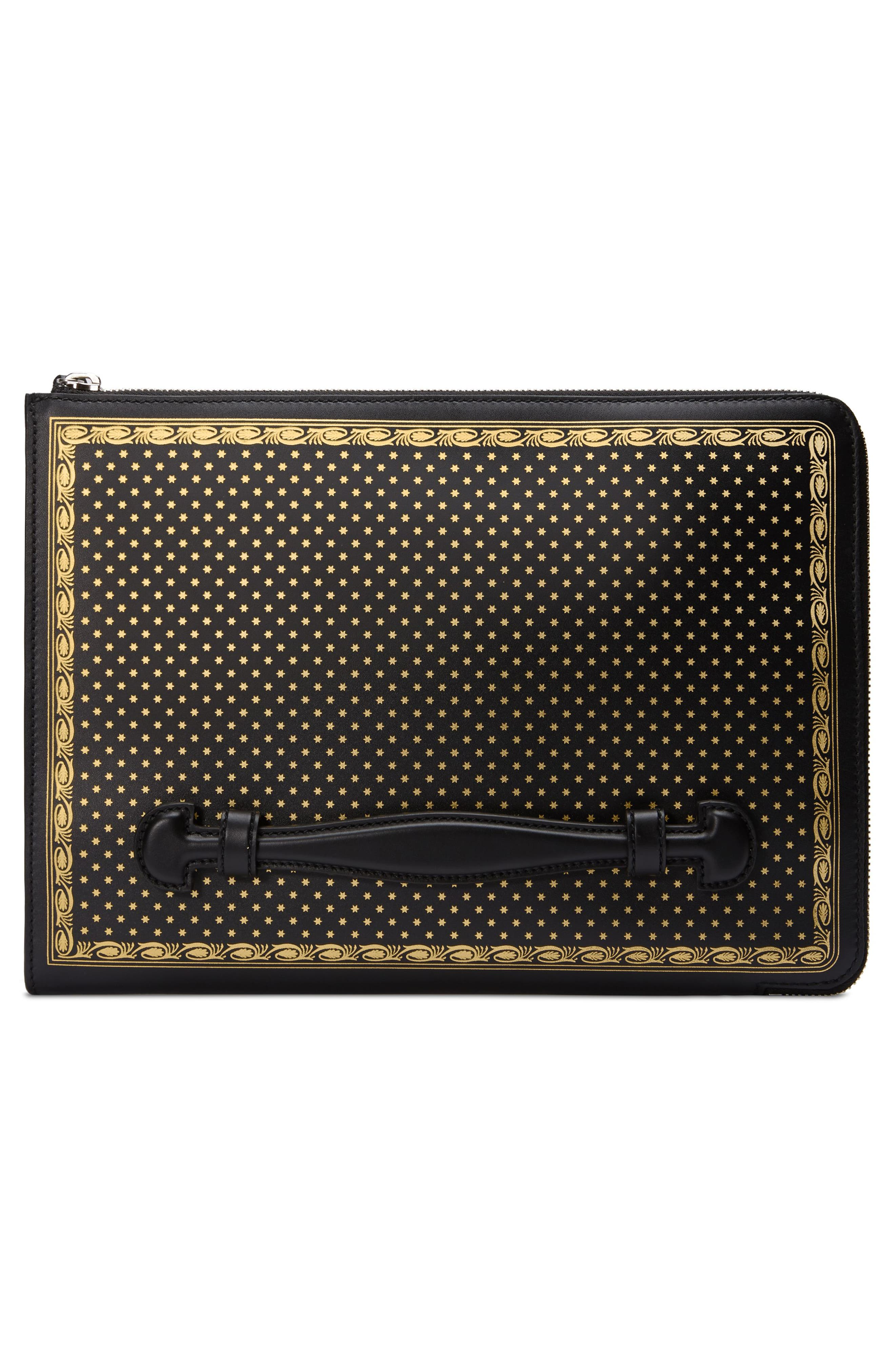 Guccy Logo Moon & Stars Leather Clutch,                             Alternate thumbnail 2, color,                             NERO ORO/ NERO