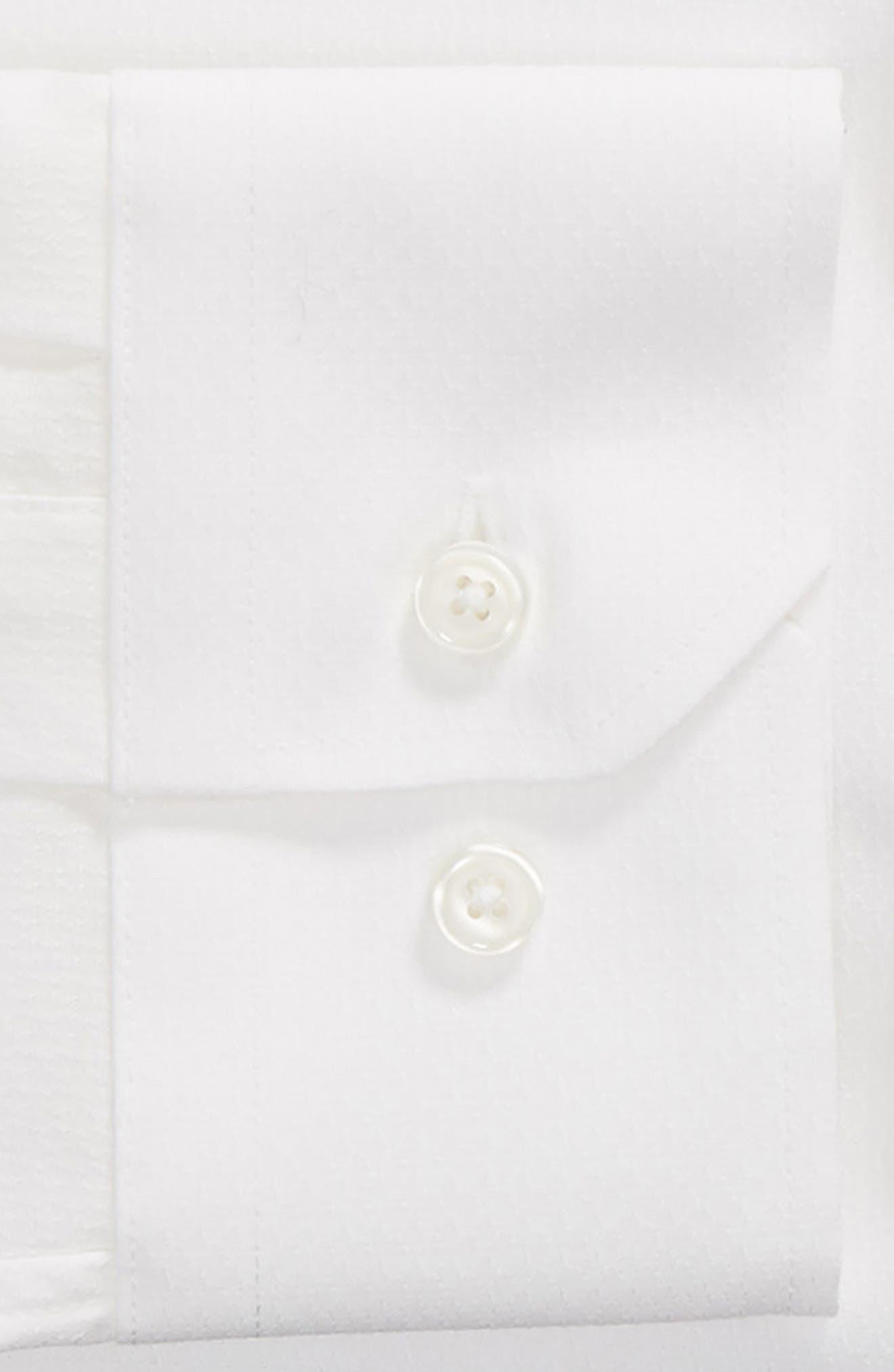 Trim Fit Stretch Solid Dress Shirt,                             Alternate thumbnail 6, color,                             WHITE