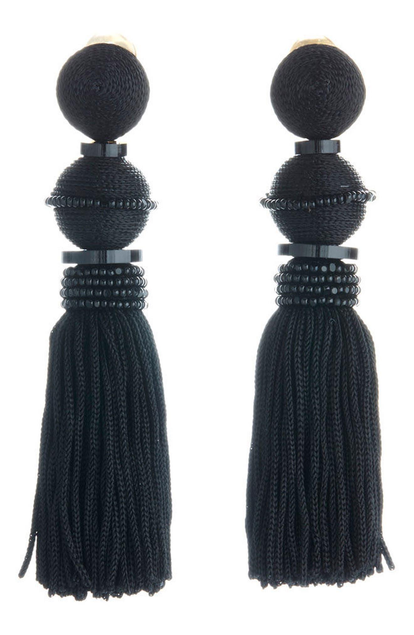 Clip Tassel Drop Earrings,                             Alternate thumbnail 3, color,                             001