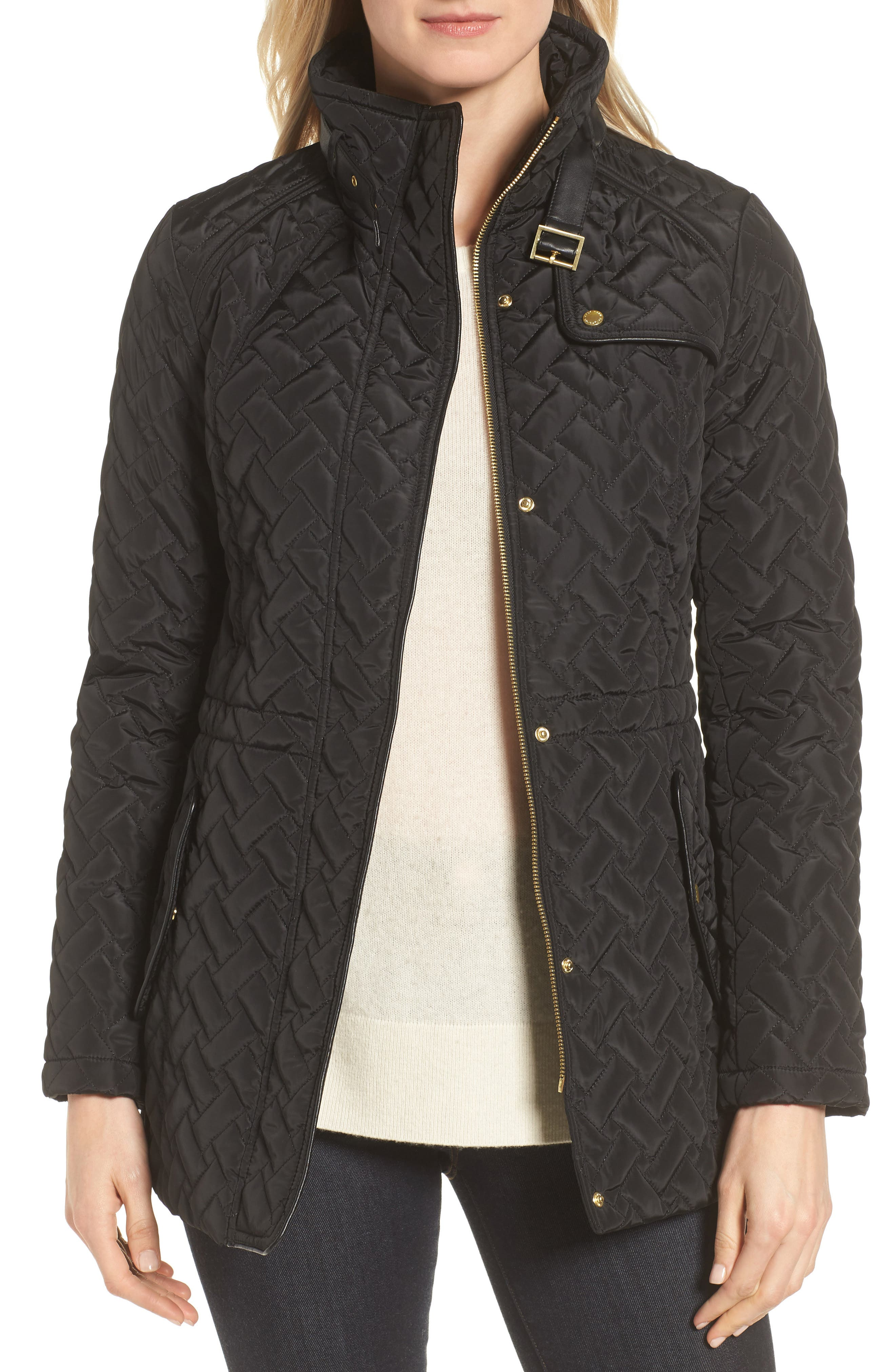 Quilted Short Coat, Main, color, BLACK