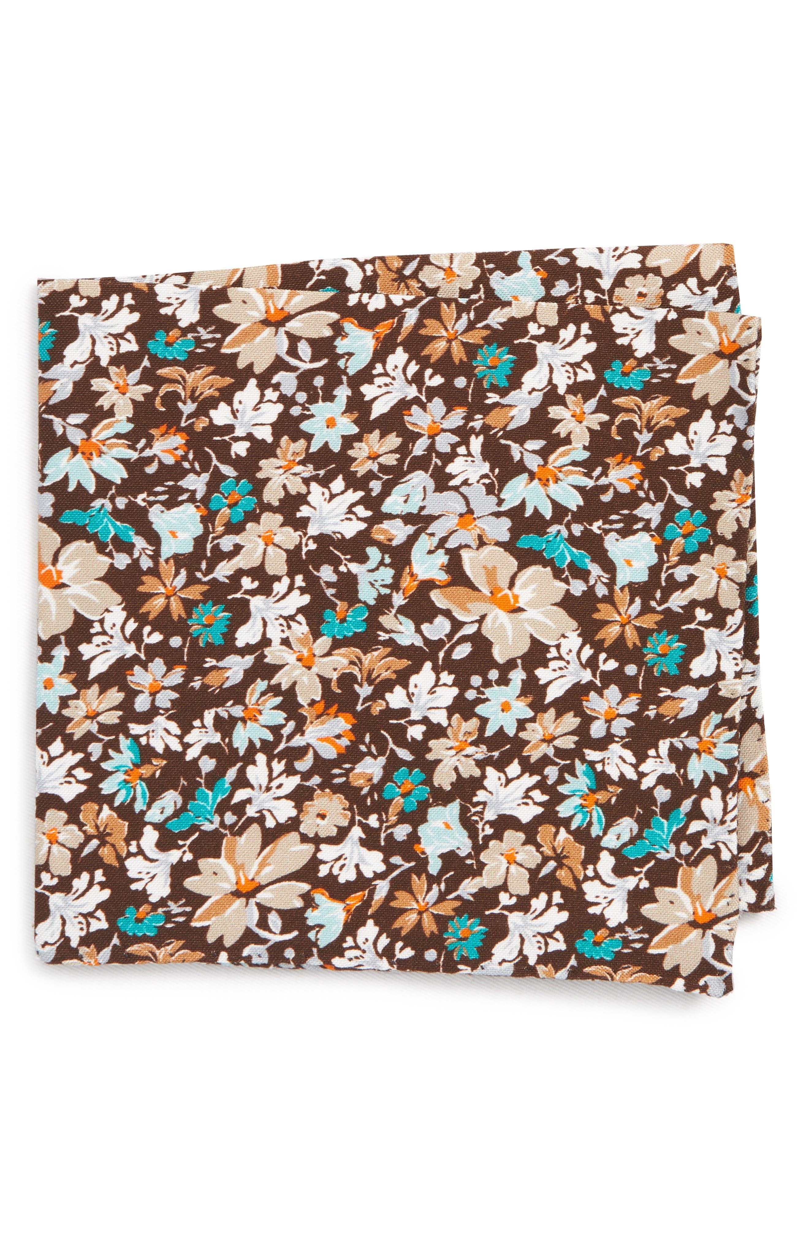 Floral Cotton & Silk Pocket Square,                         Main,                         color, BROWN