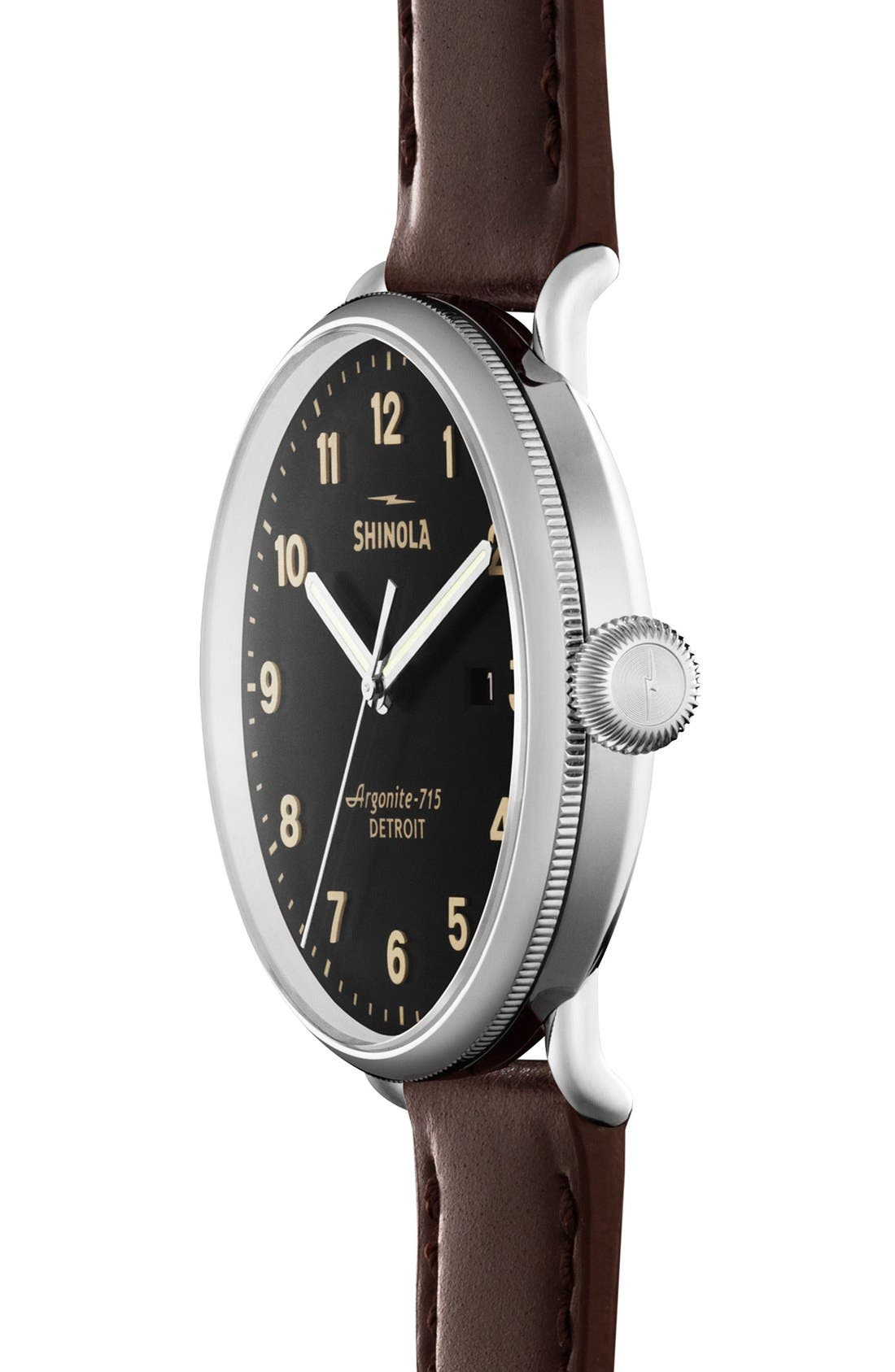 SHINOLA,                             The Canfield Leather Strap Watch, 43mm,                             Alternate thumbnail 2, color,                             DARK BROWN/ BLACK
