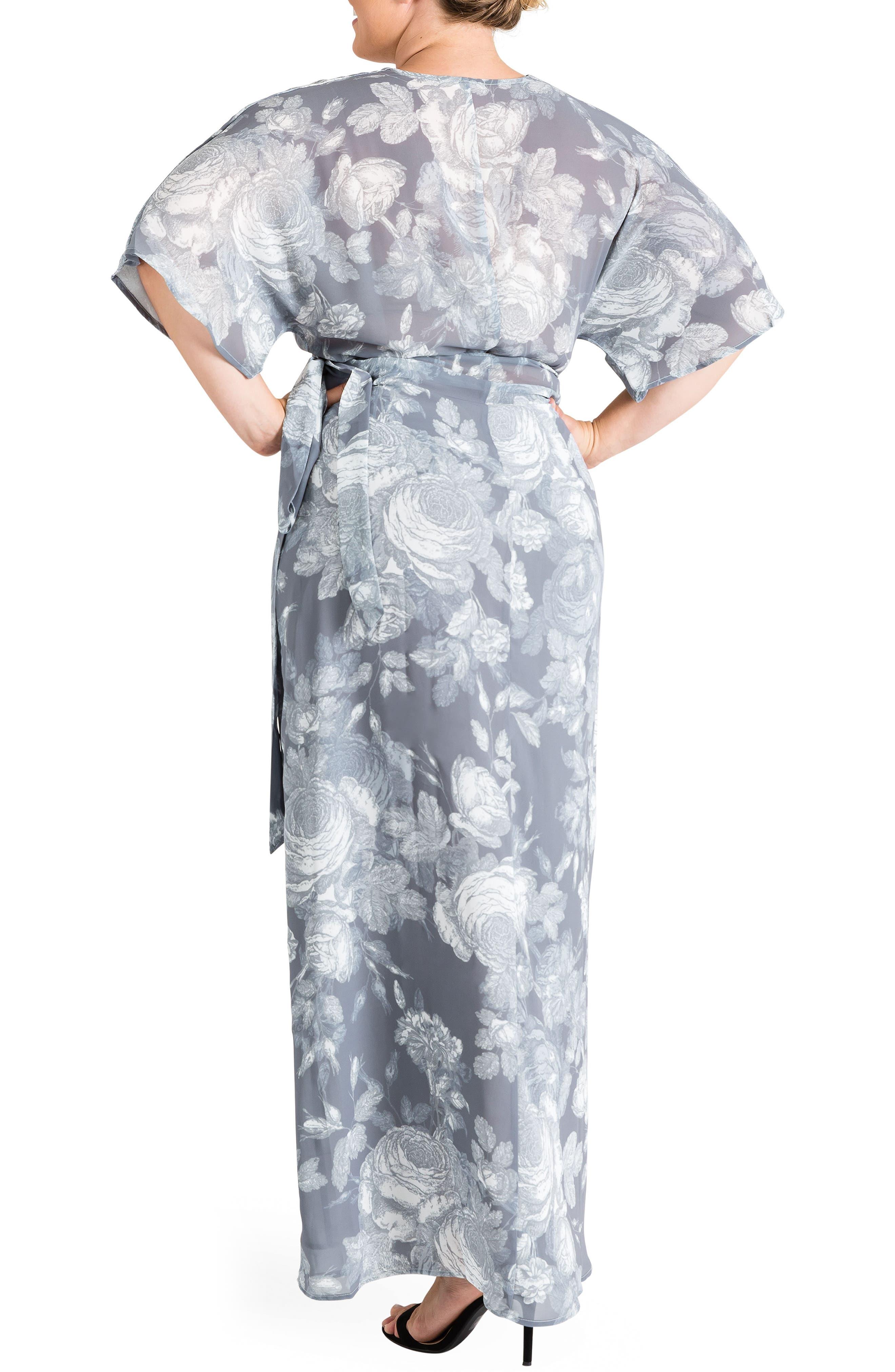 Olivia Print Wrap Maxi Dress,                             Alternate thumbnail 2, color,                             SMOKEY ROSE