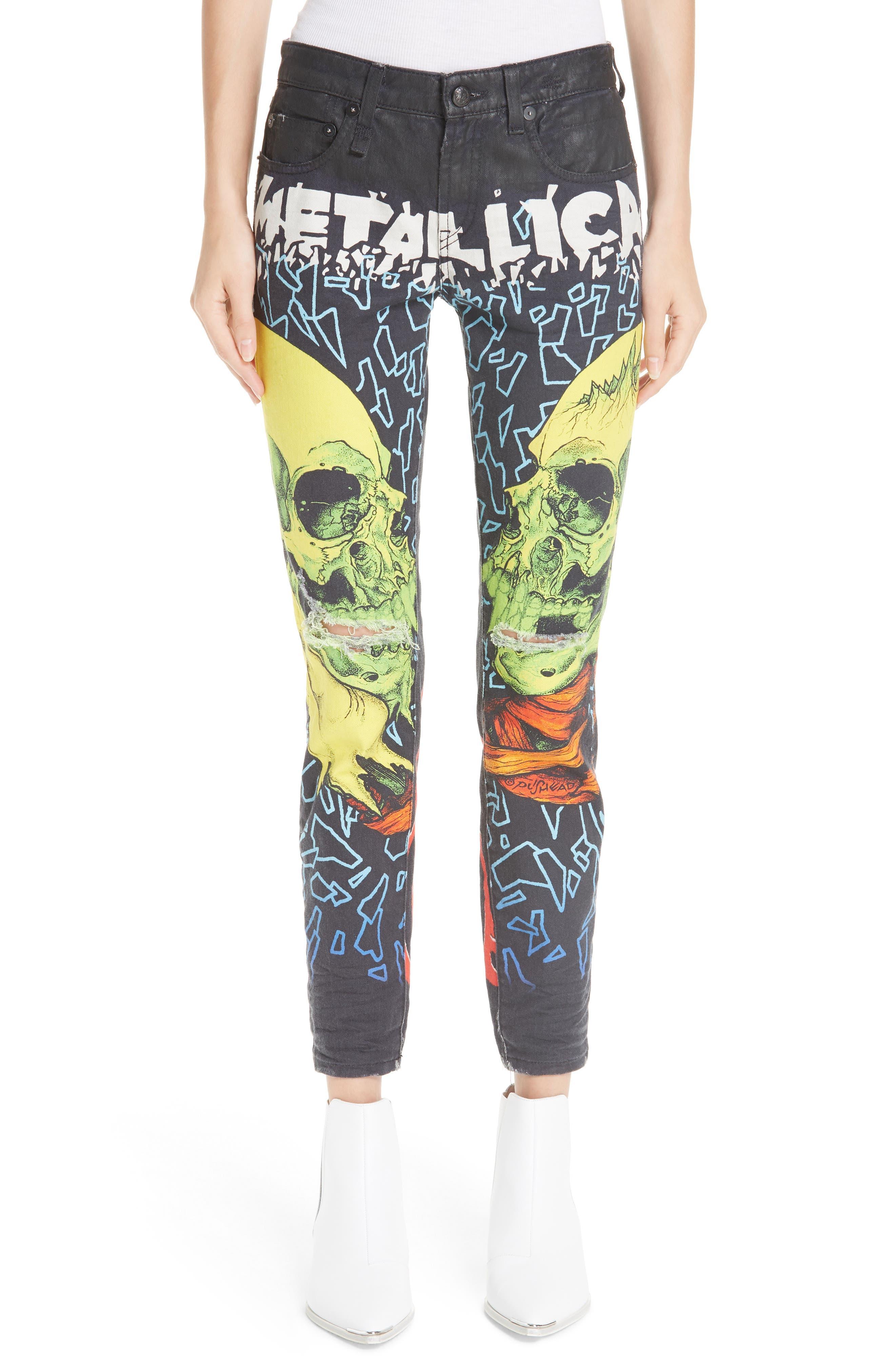 R13 Kate Print Skinny Jeans, Main, color, 001