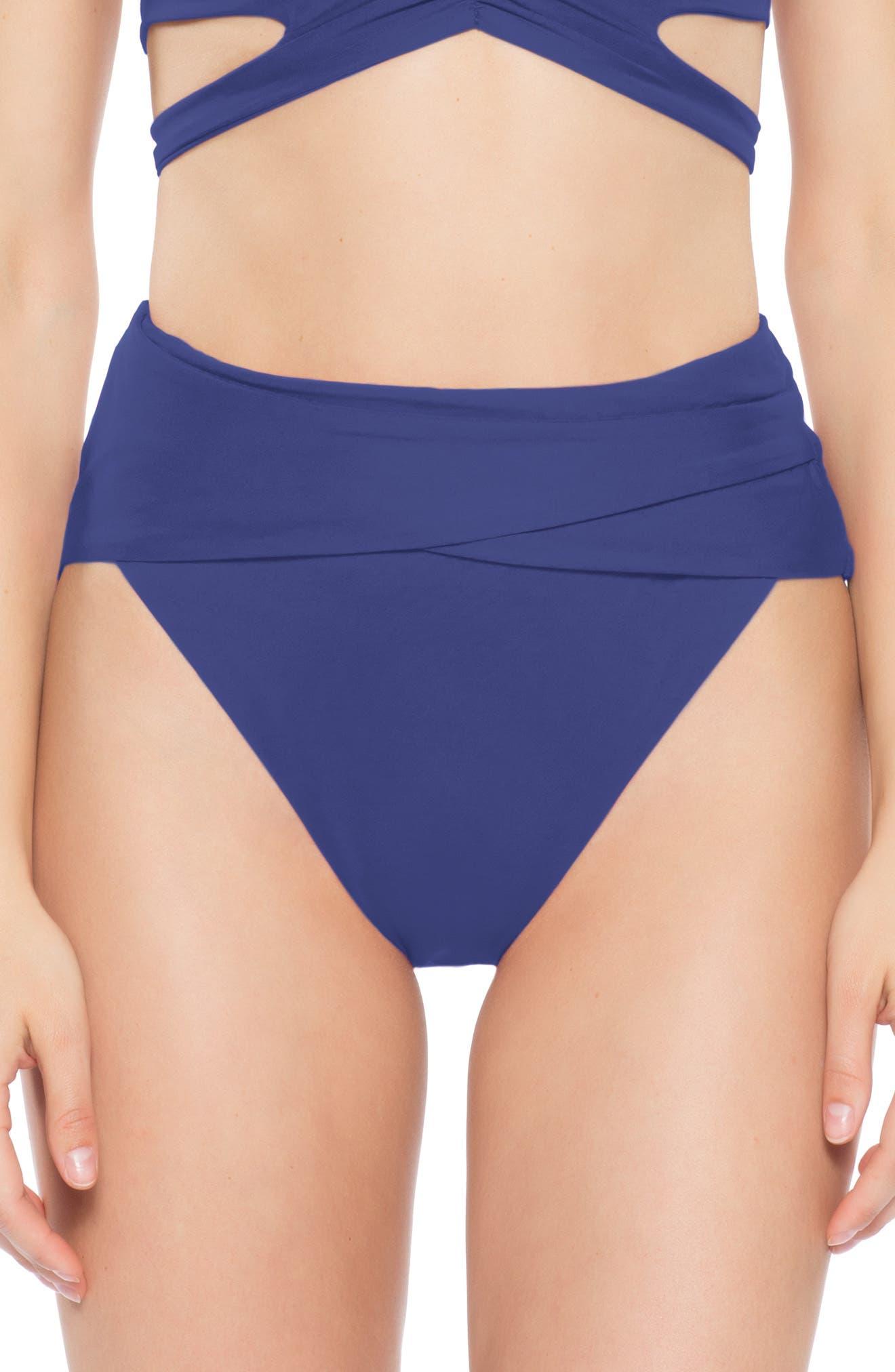 Becca Color Code Crossover High Waist Bikini Bottoms, Blue