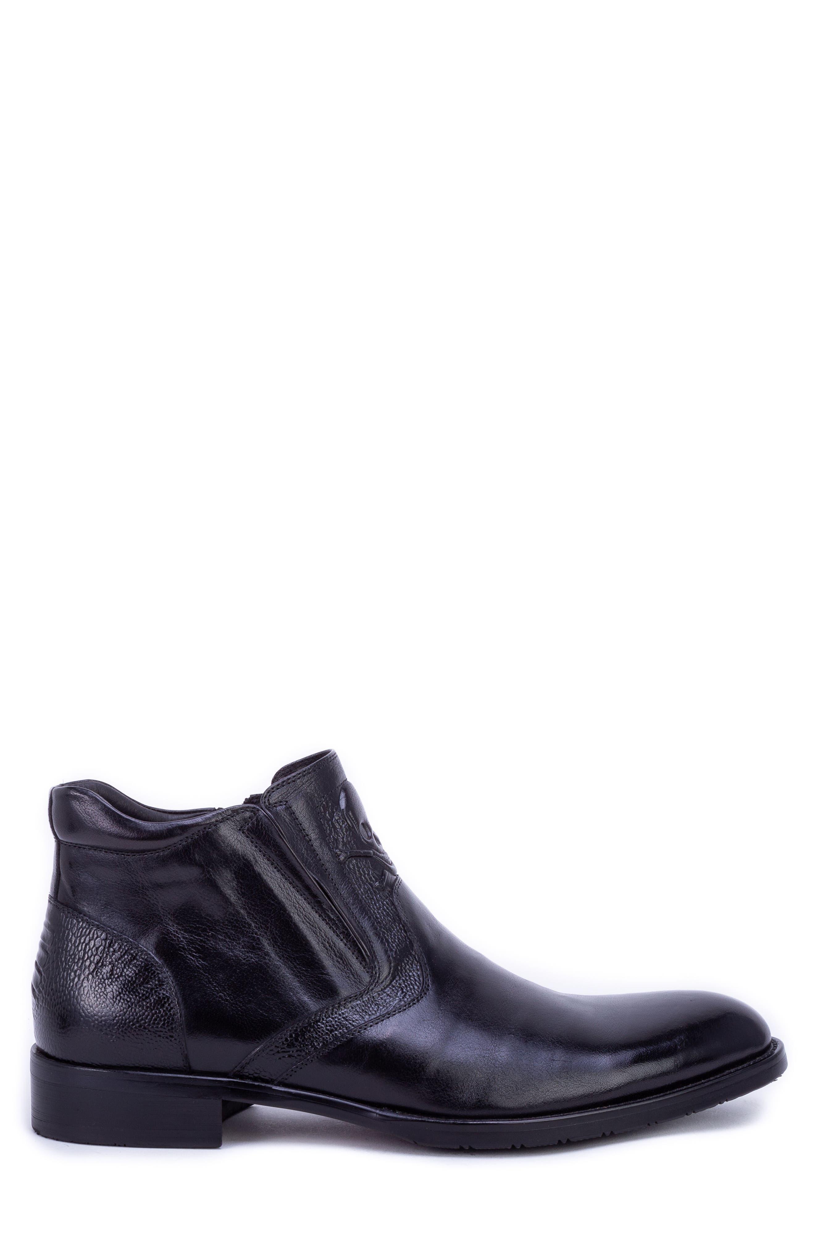 Gordon Skull Embossed Boot,                             Alternate thumbnail 3, color,                             BLACK LEATHER