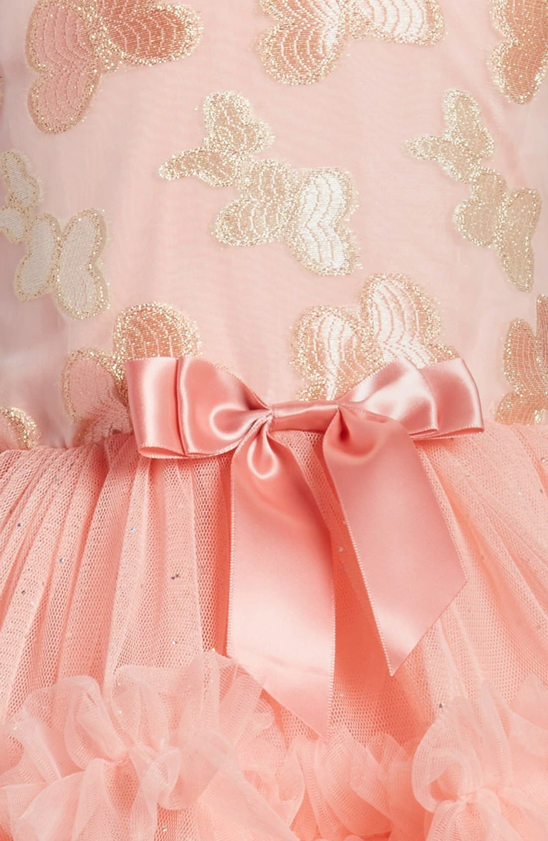 'Butterfly' Sleeveless Party Dress,                             Alternate thumbnail 4, color,                             PEACH