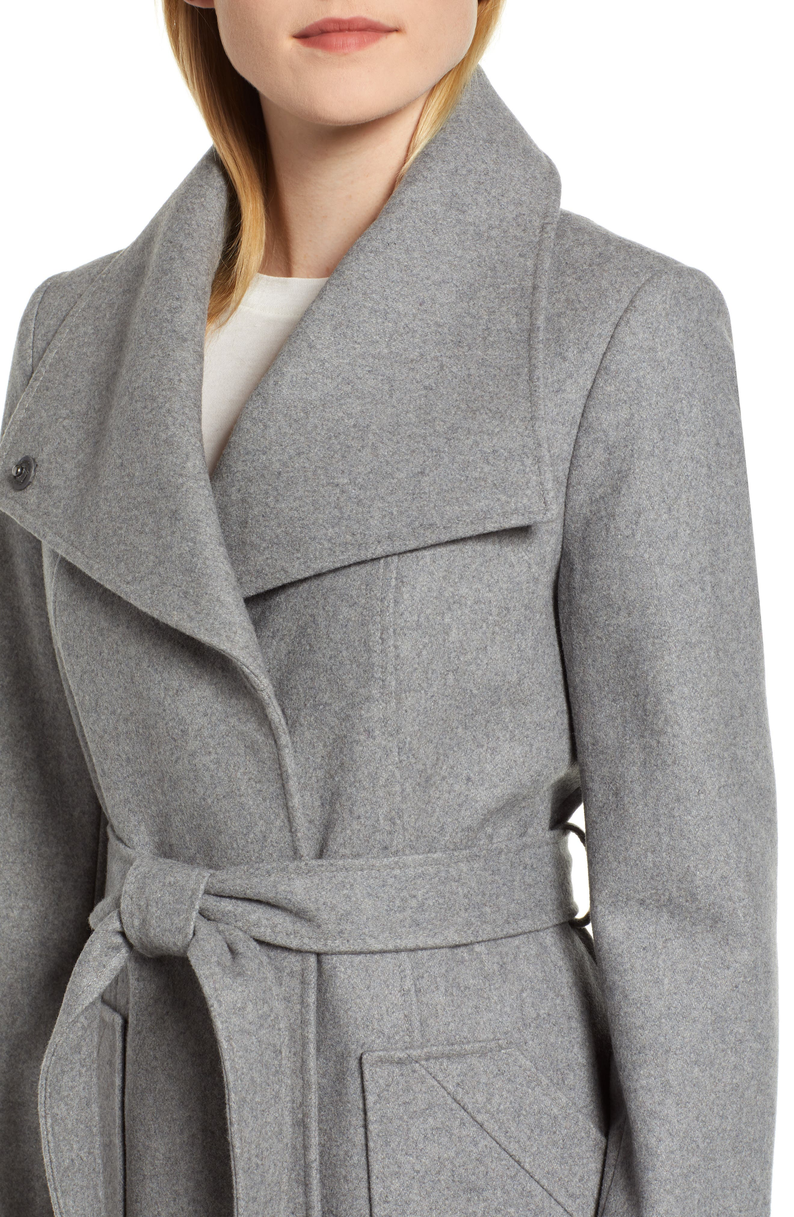 Belted Wool Blend Coat,                             Alternate thumbnail 4, color,                             GREY