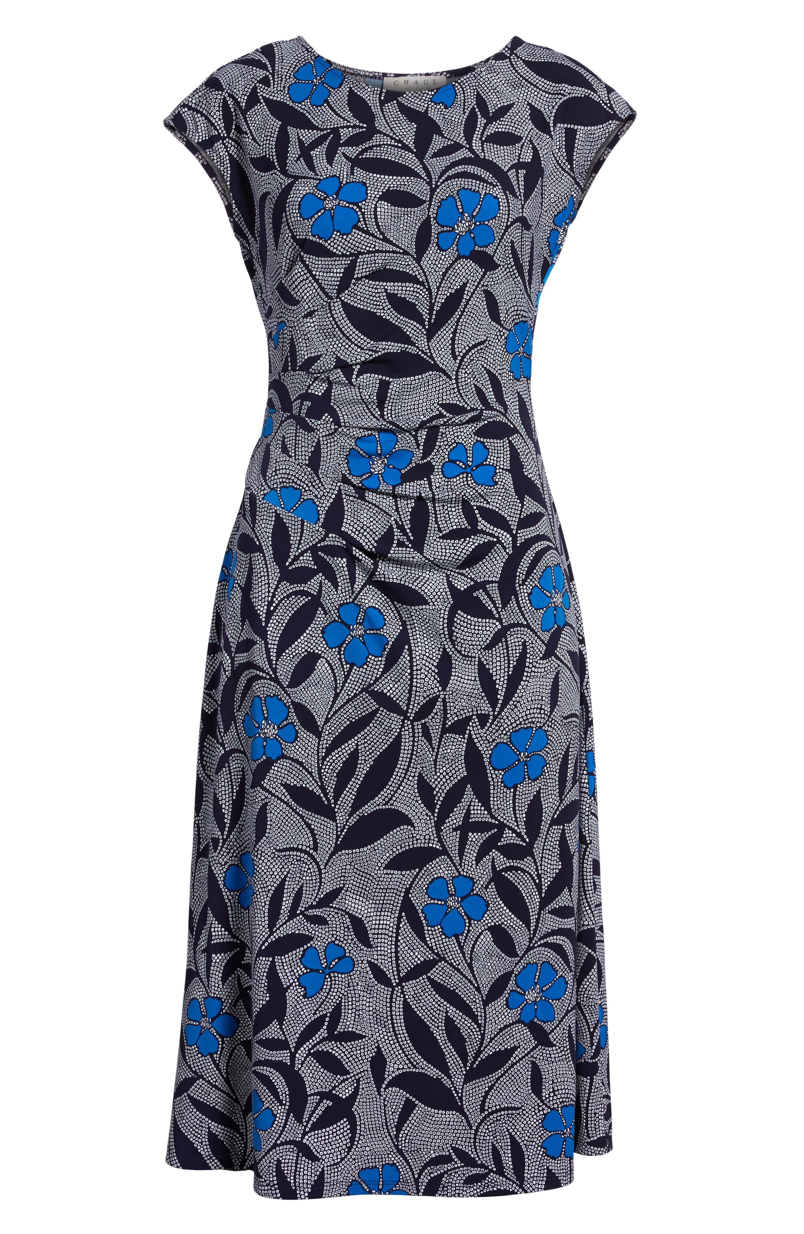 Pacific Blooms Stretch Jersey Ruched Dress,                             Alternate thumbnail 7, color,