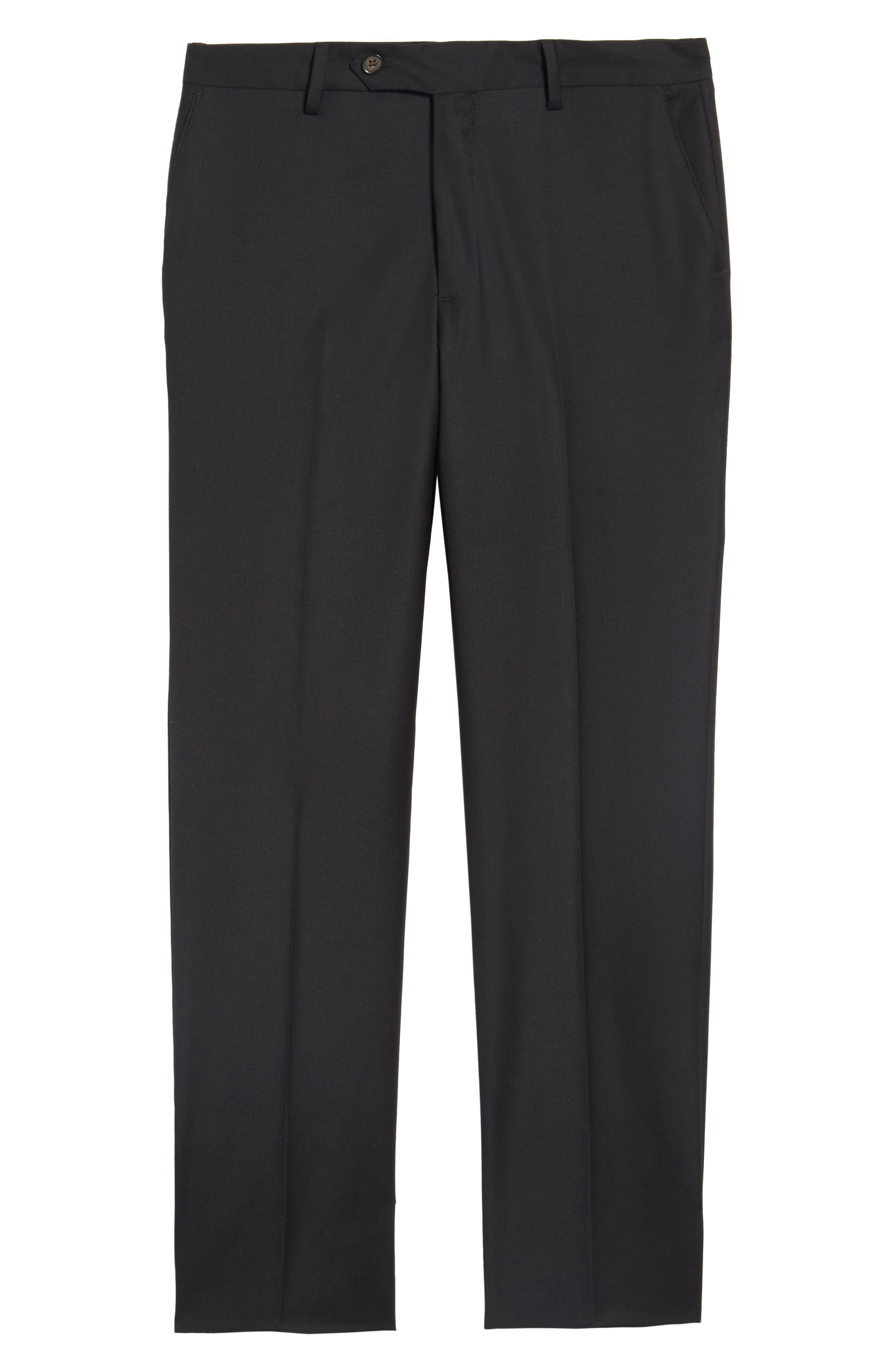 Flat Front Stretch Solid Wool Trousers,                             Alternate thumbnail 6, color,                             001