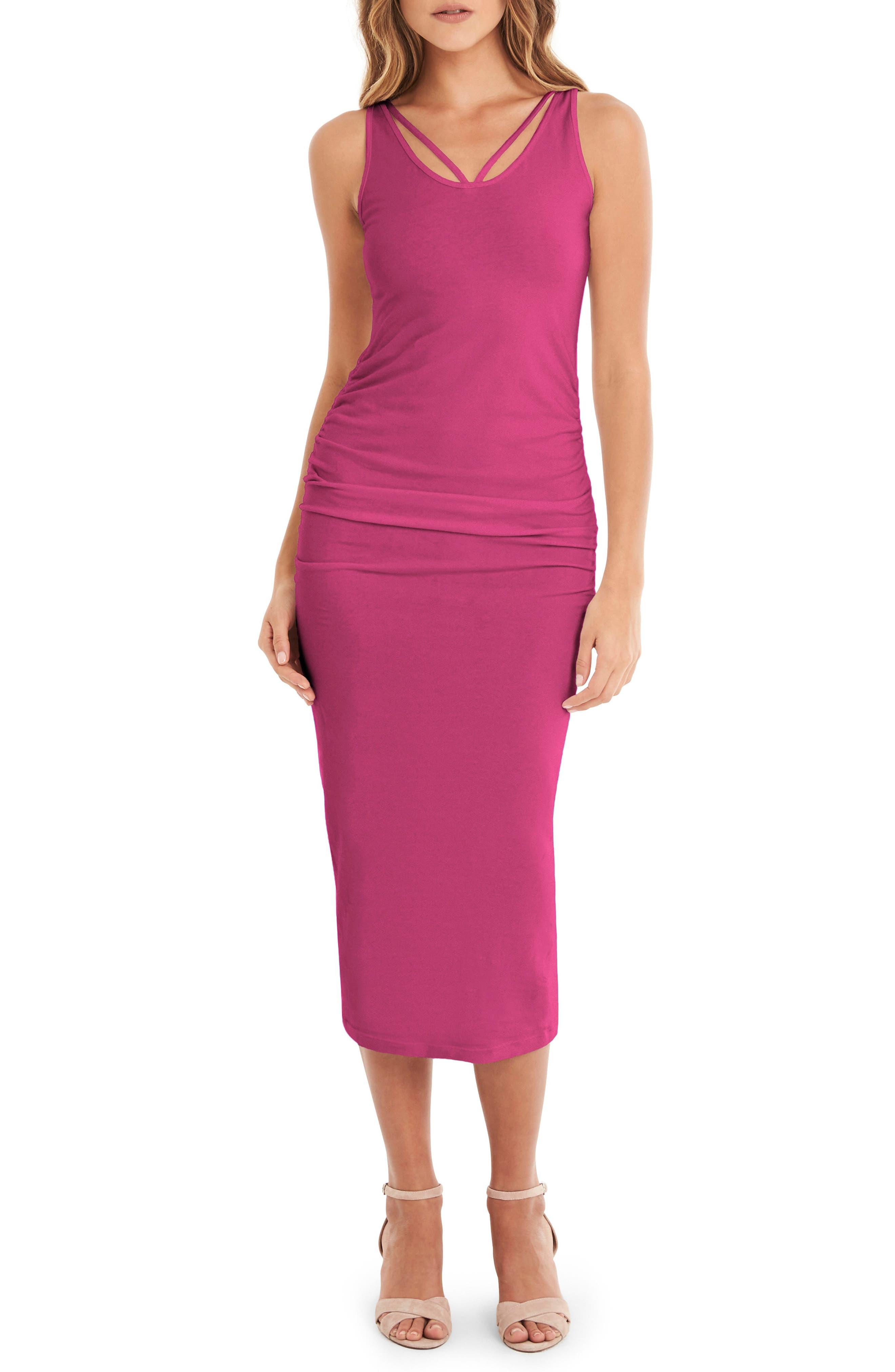 Michael Stars Reversible Stretch Cotton Midi Dress, Pink