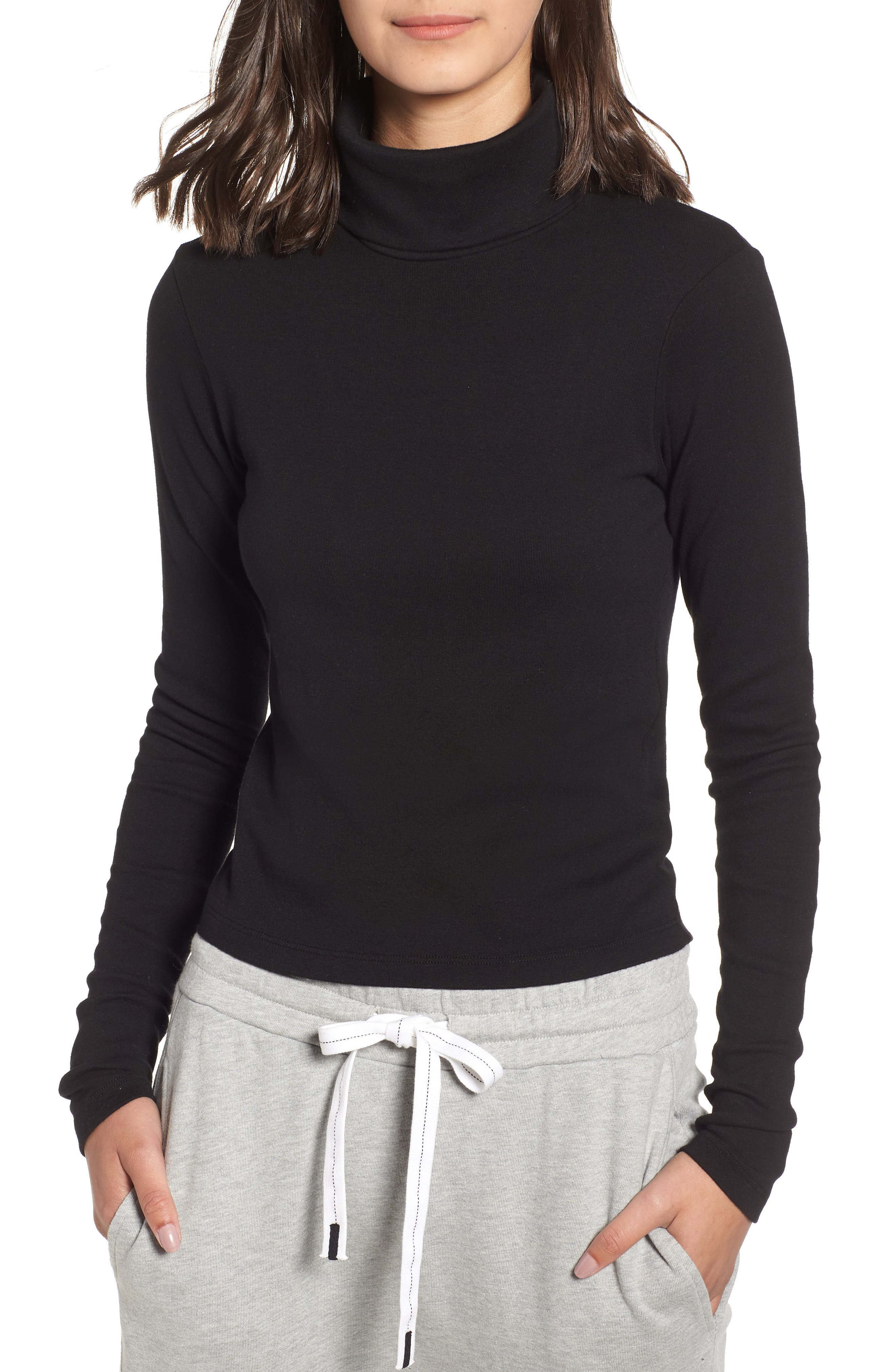 Turtleneck Stretch Cotton Crop Top,                         Main,                         color, 001