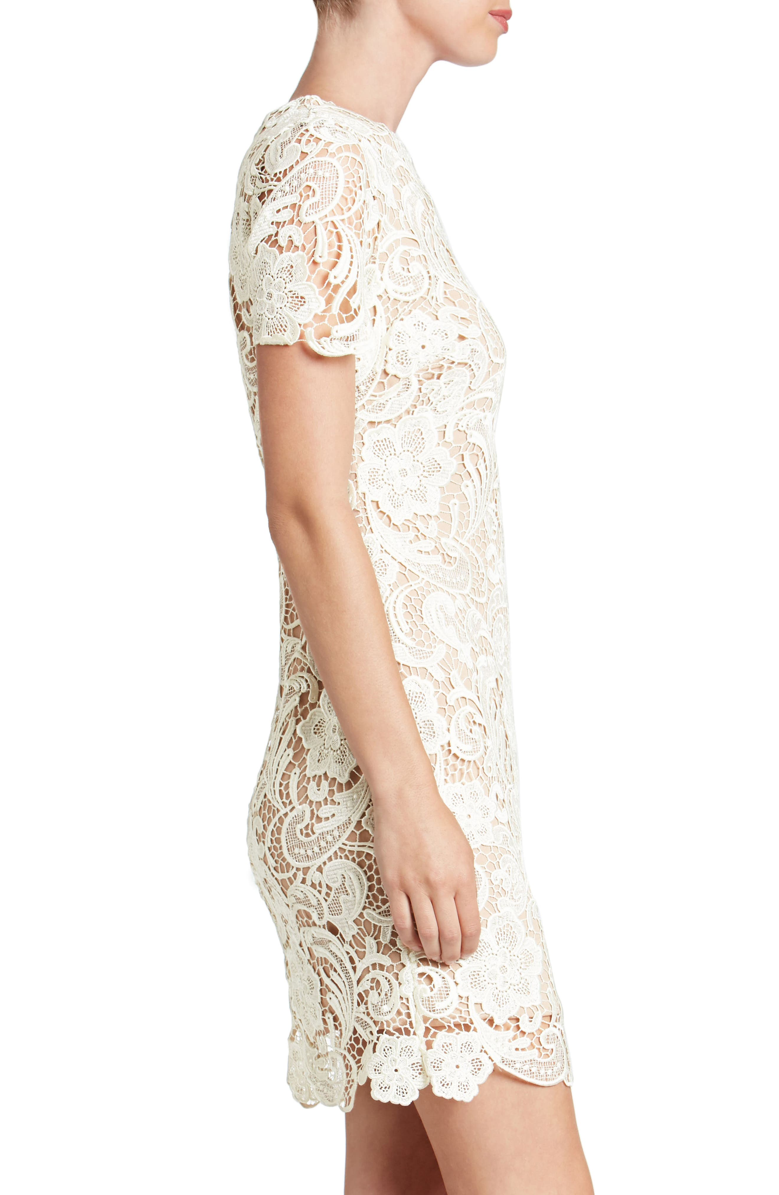 Anna Crochet Lace Sheath Dress,                             Alternate thumbnail 3, color,                             WHITE/ NUDE