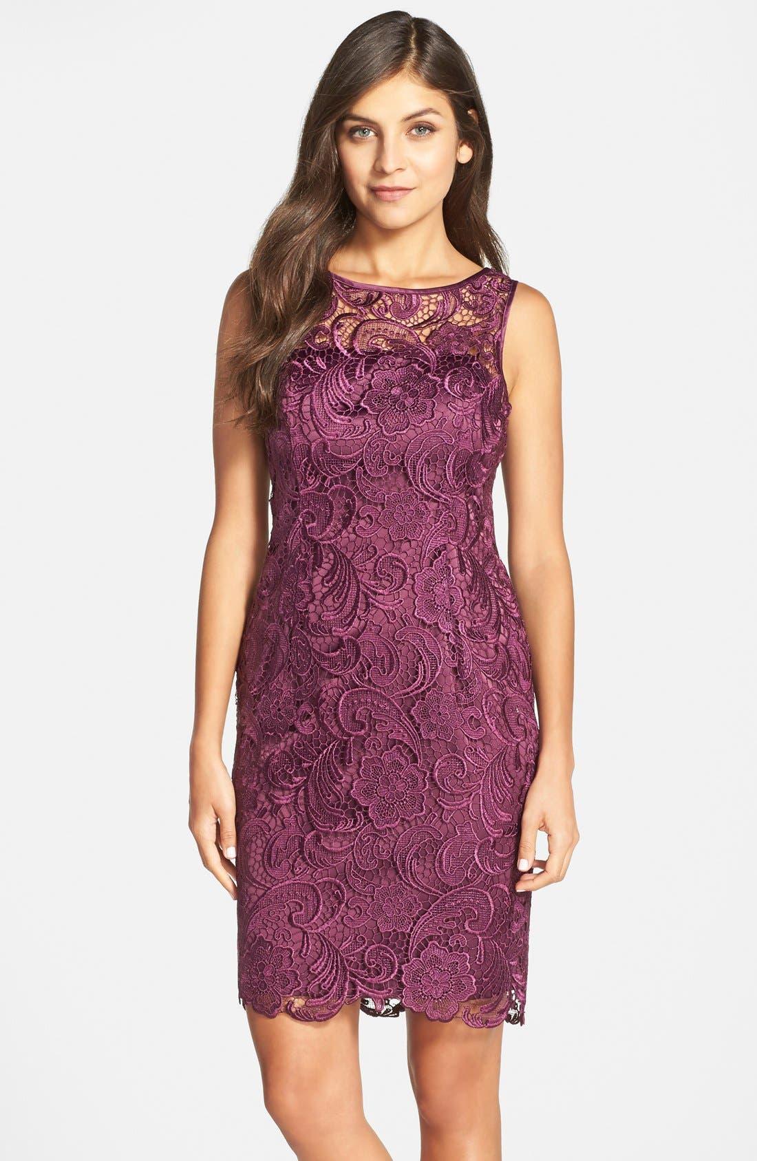 Illusion Bodice Lace Sheath Dress,                             Main thumbnail 10, color,