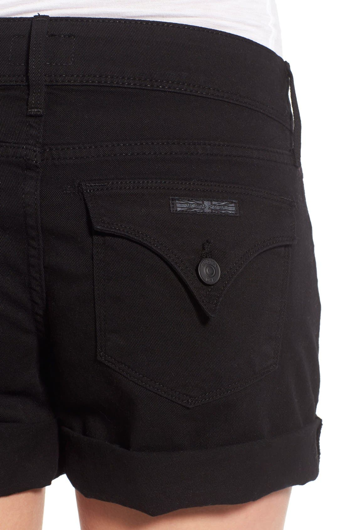 Croxley Cuffed Denim Shorts,                             Alternate thumbnail 4, color,                             001