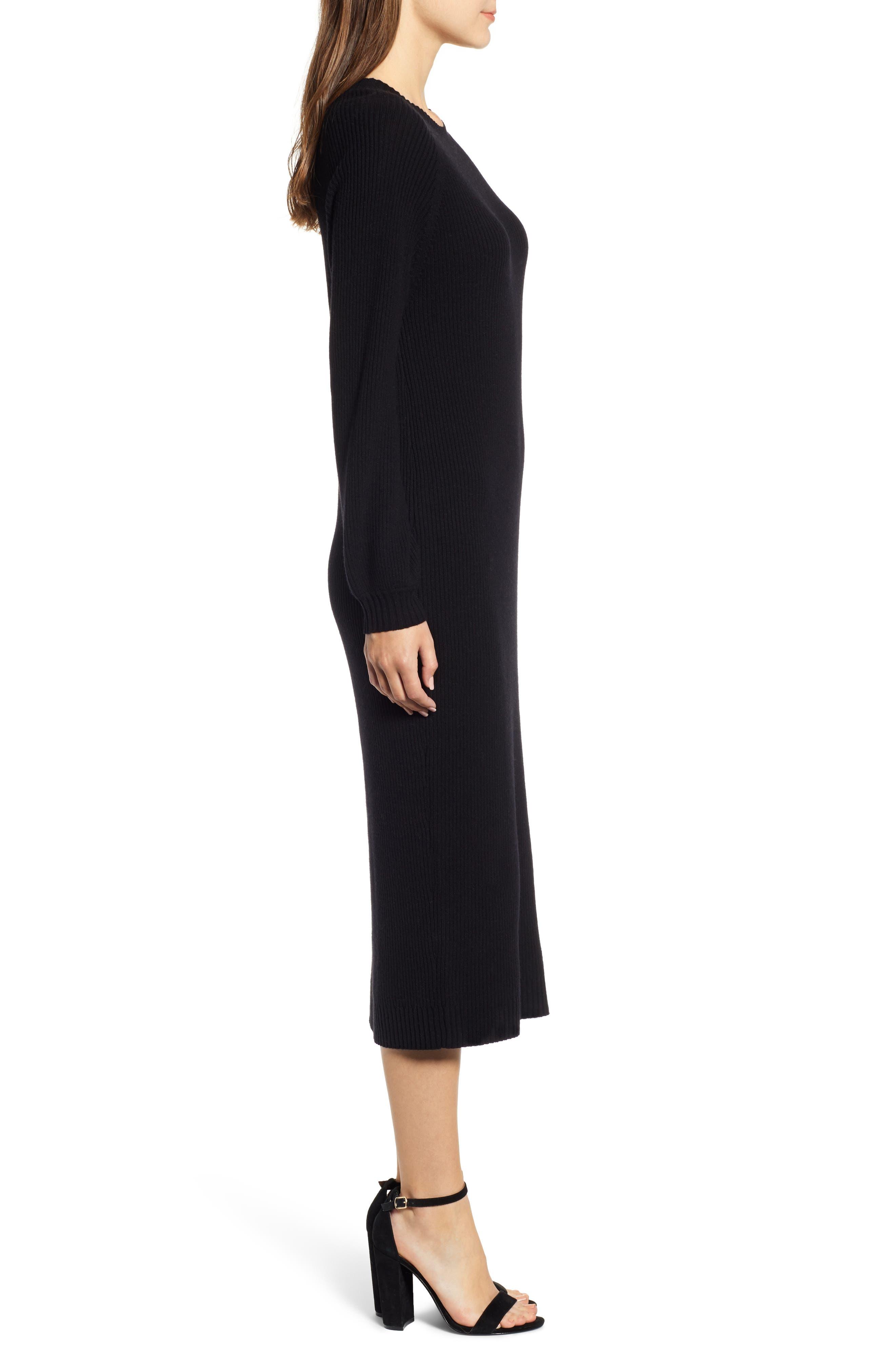 Quaid Knit Sweater Dress,                             Alternate thumbnail 3, color,                             TRUE BLACK