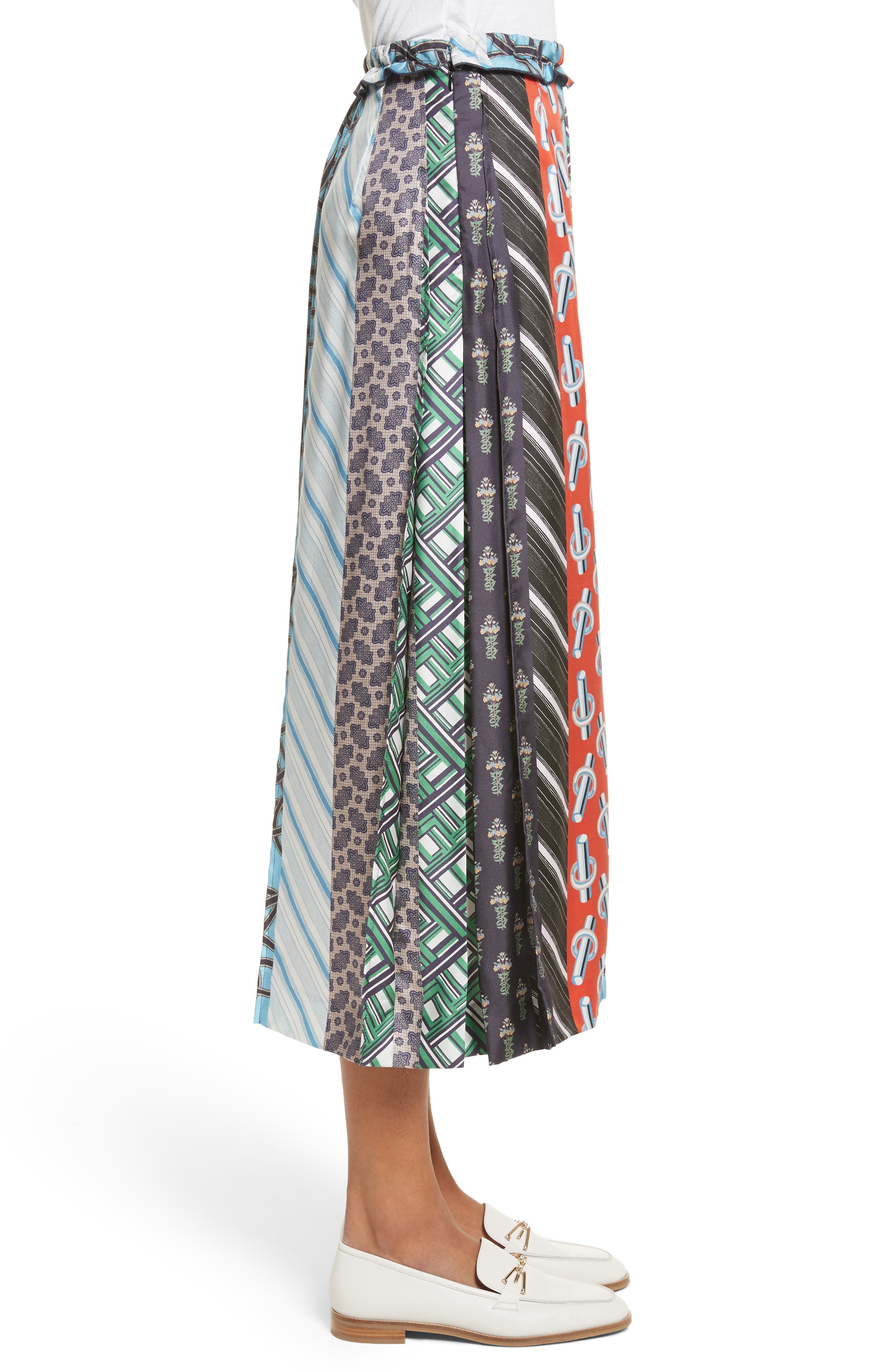 Pleated Mix Print Silk Skirt,                             Alternate thumbnail 3, color,                             003