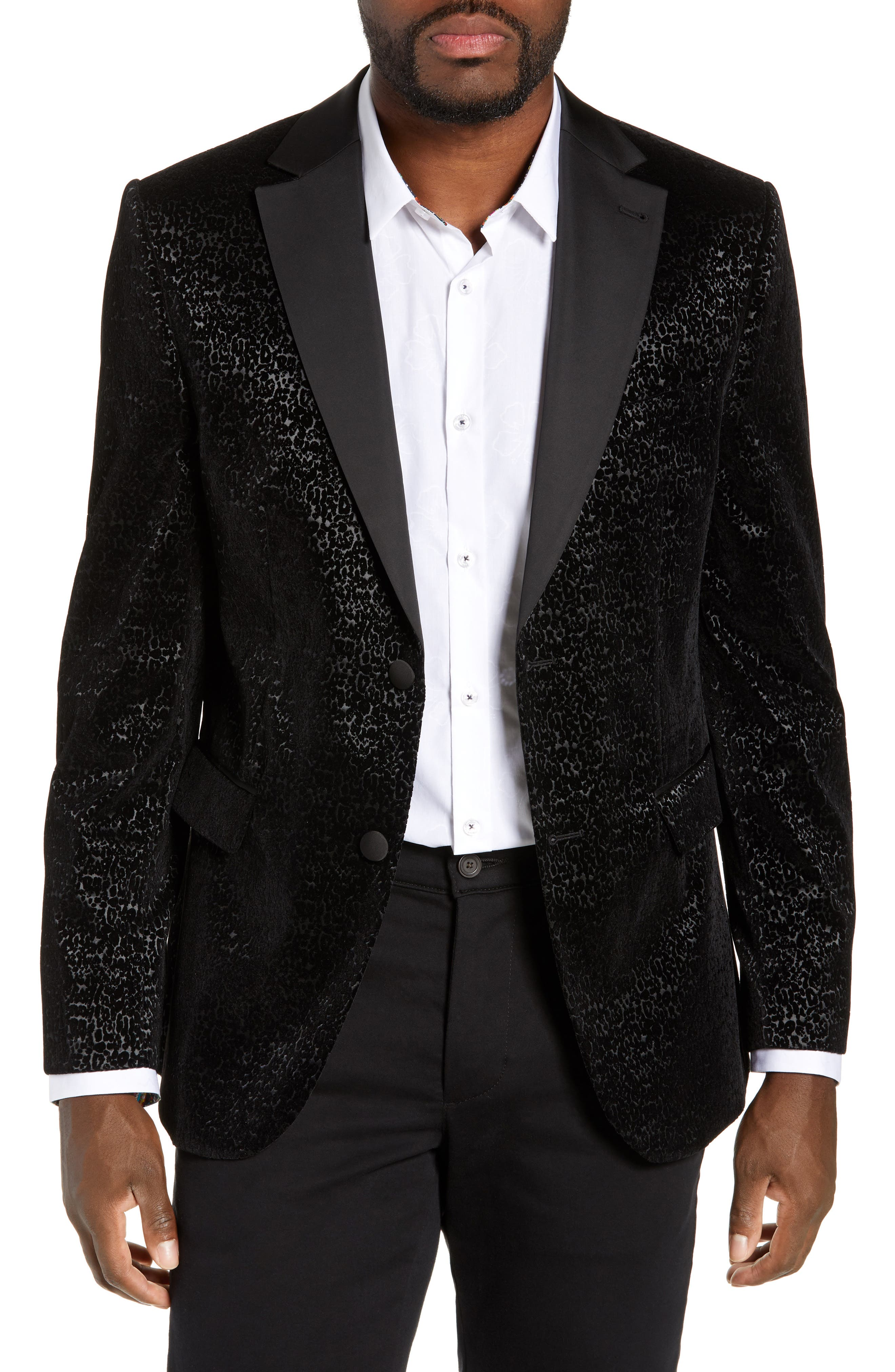 JARED LANG Trim Fit Velvet Burnout Sport Coat in Black