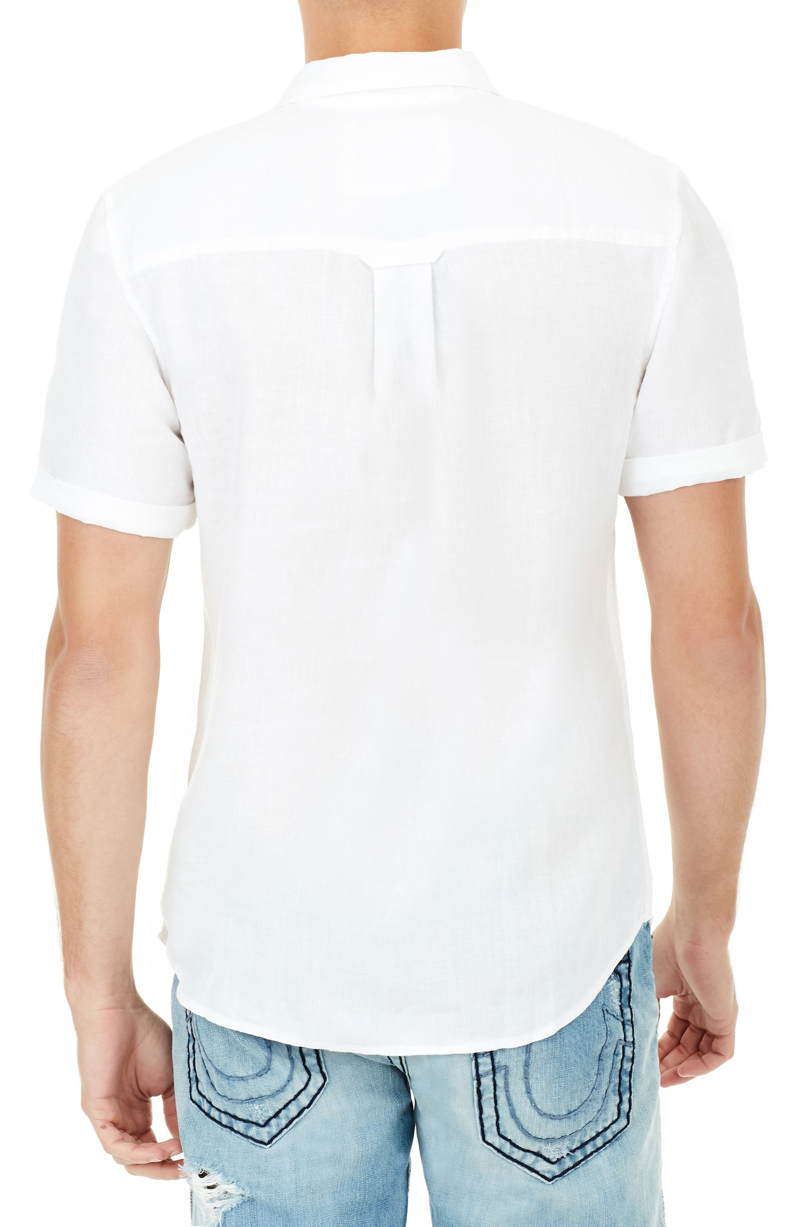 Roll Cuff Linen Shirt,                             Alternate thumbnail 2, color,                             100