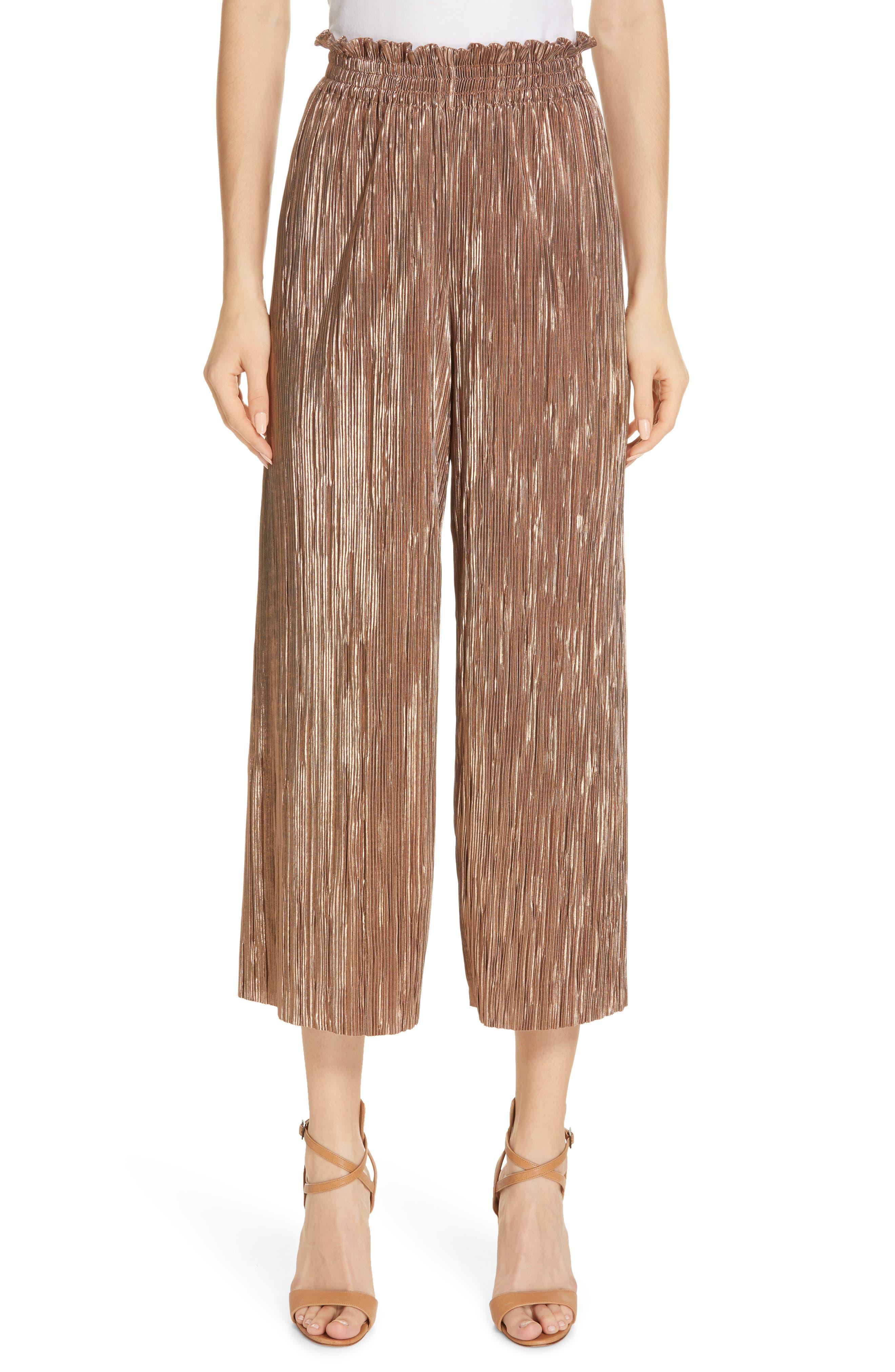 Elba Paperbag Waist Crop Pants, Main, color, ROSE GOLD