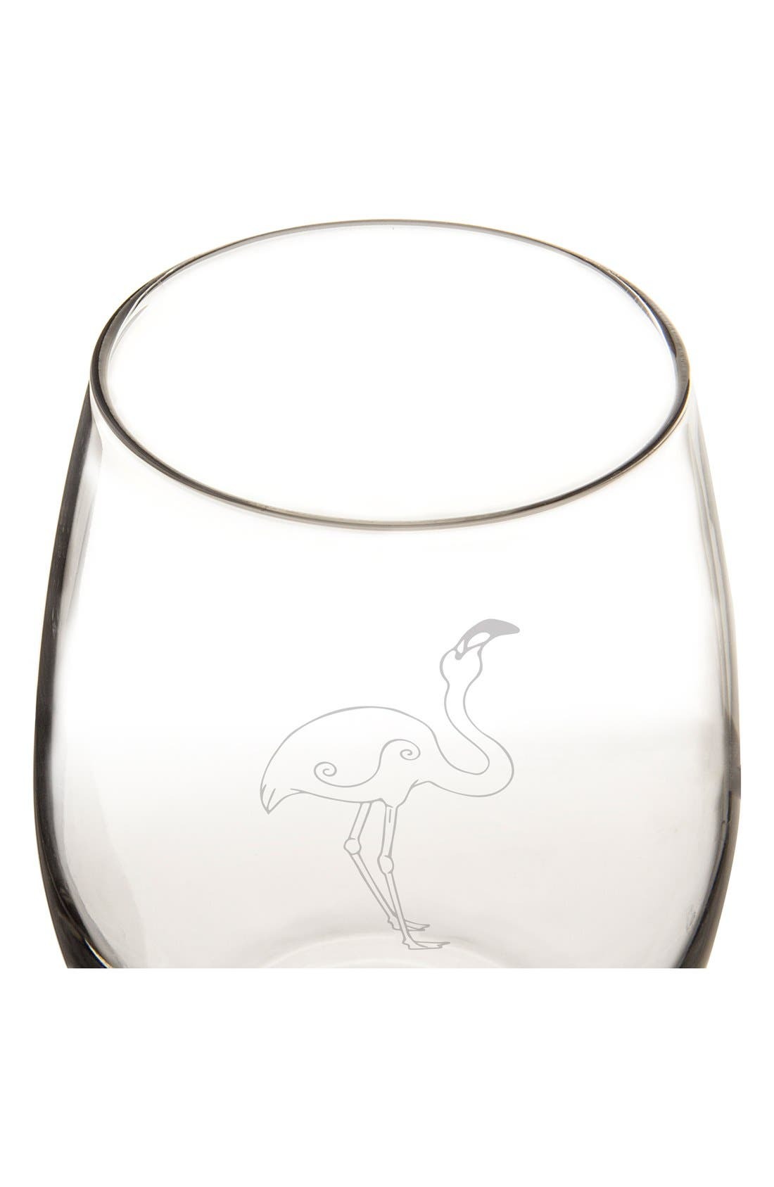 Theme Etched Set of 4 Stemless Wine Glasses,                             Alternate thumbnail 2, color,                             FLAMINGO