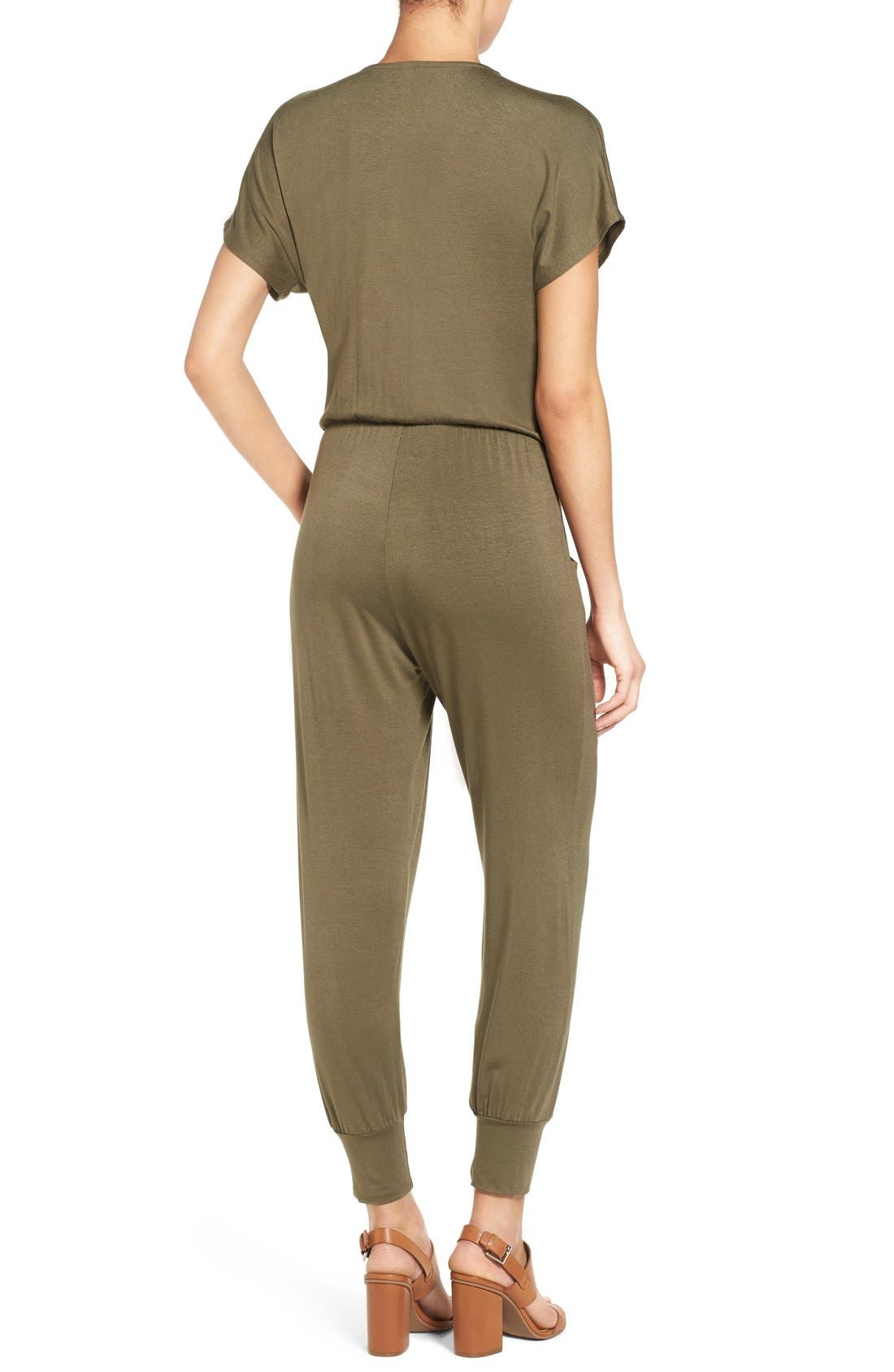 Short Sleeve Wrap Top Jumpsuit,                             Alternate thumbnail 11, color,