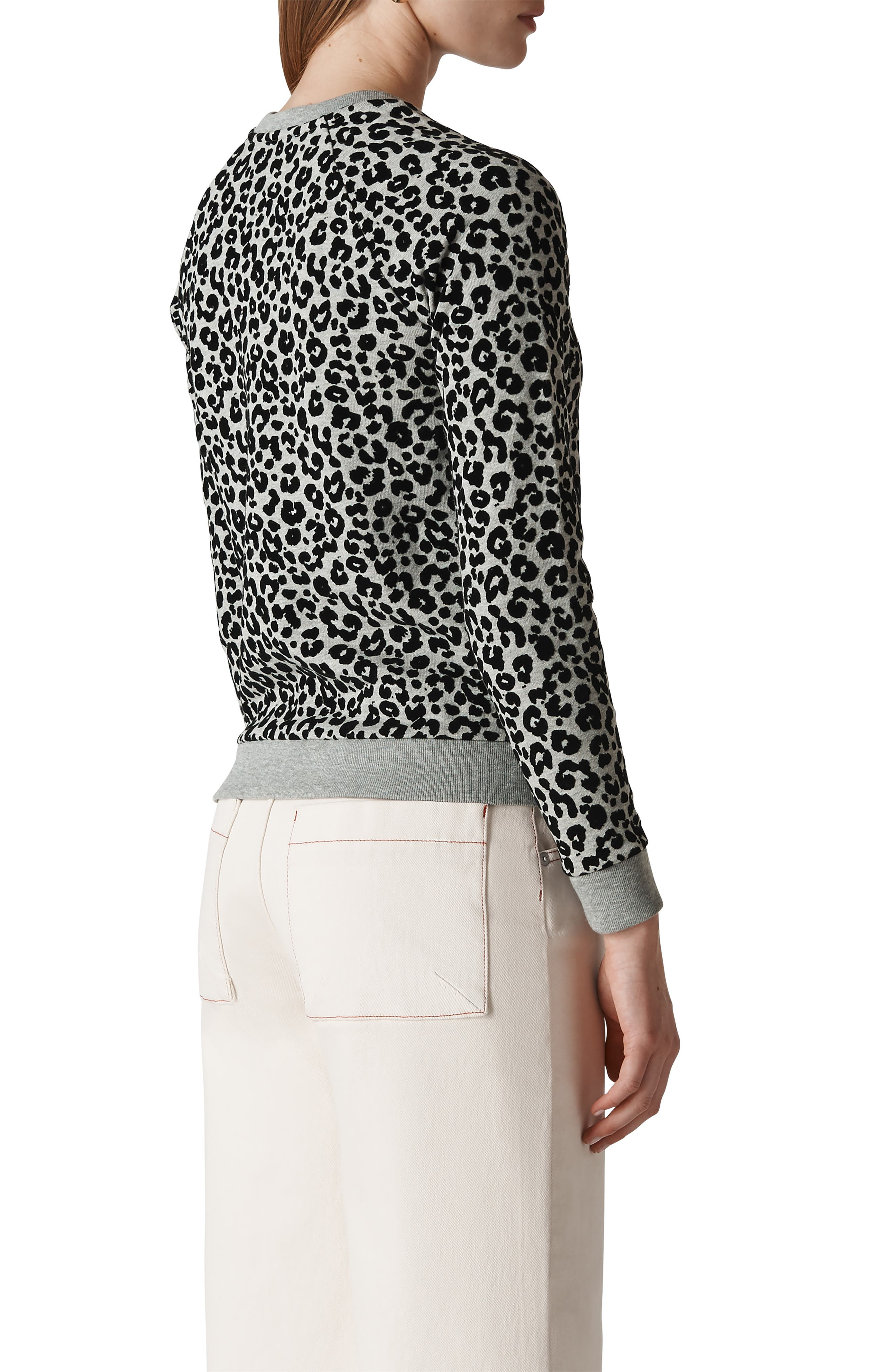 Cheetah Flocked Sweatshirt,                             Alternate thumbnail 2, color,                             GREY