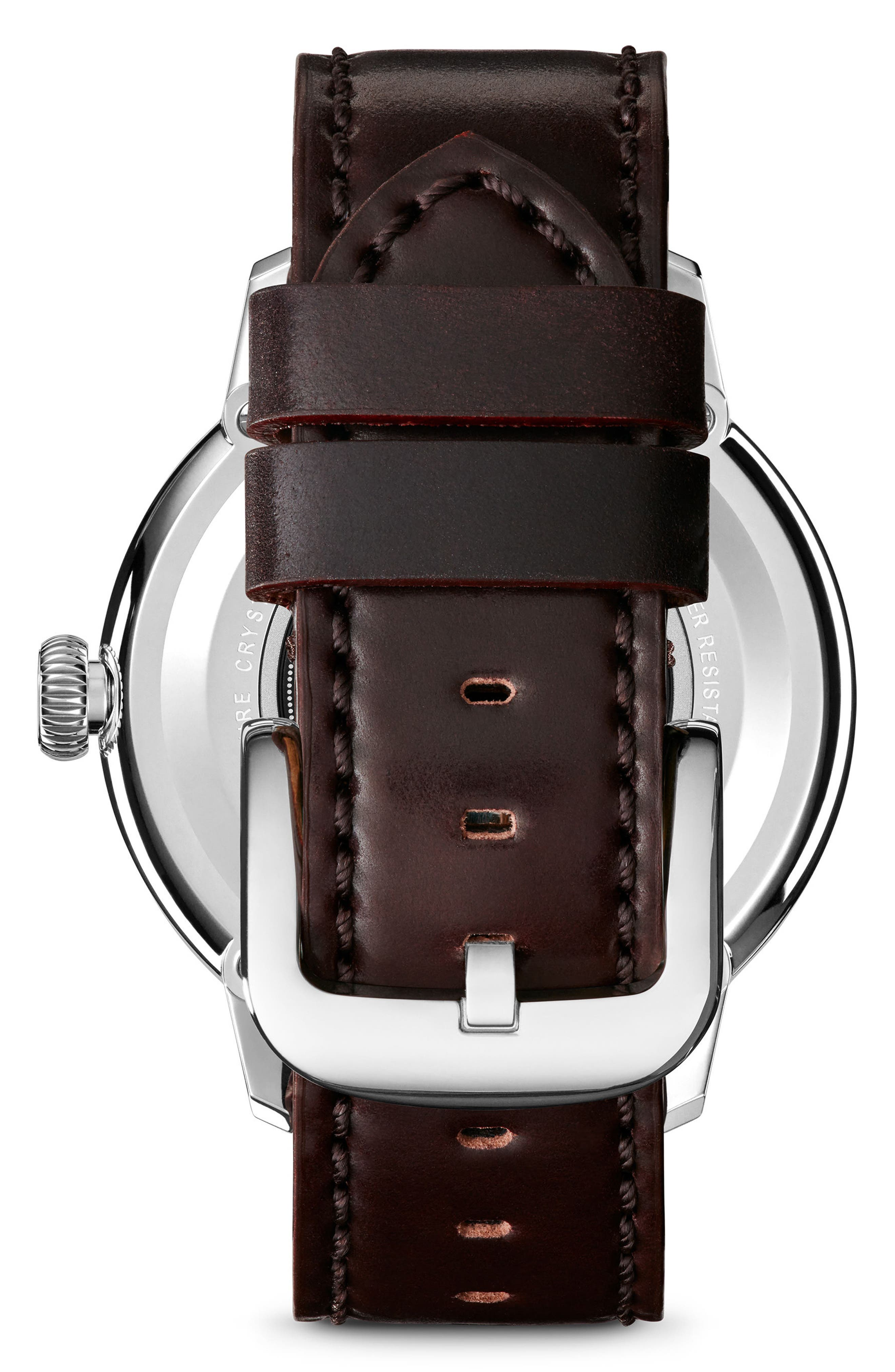 Bedrock Leather Strap Watch, 42mm,                             Alternate thumbnail 2, color,                             OXBLOOD/ WHITE