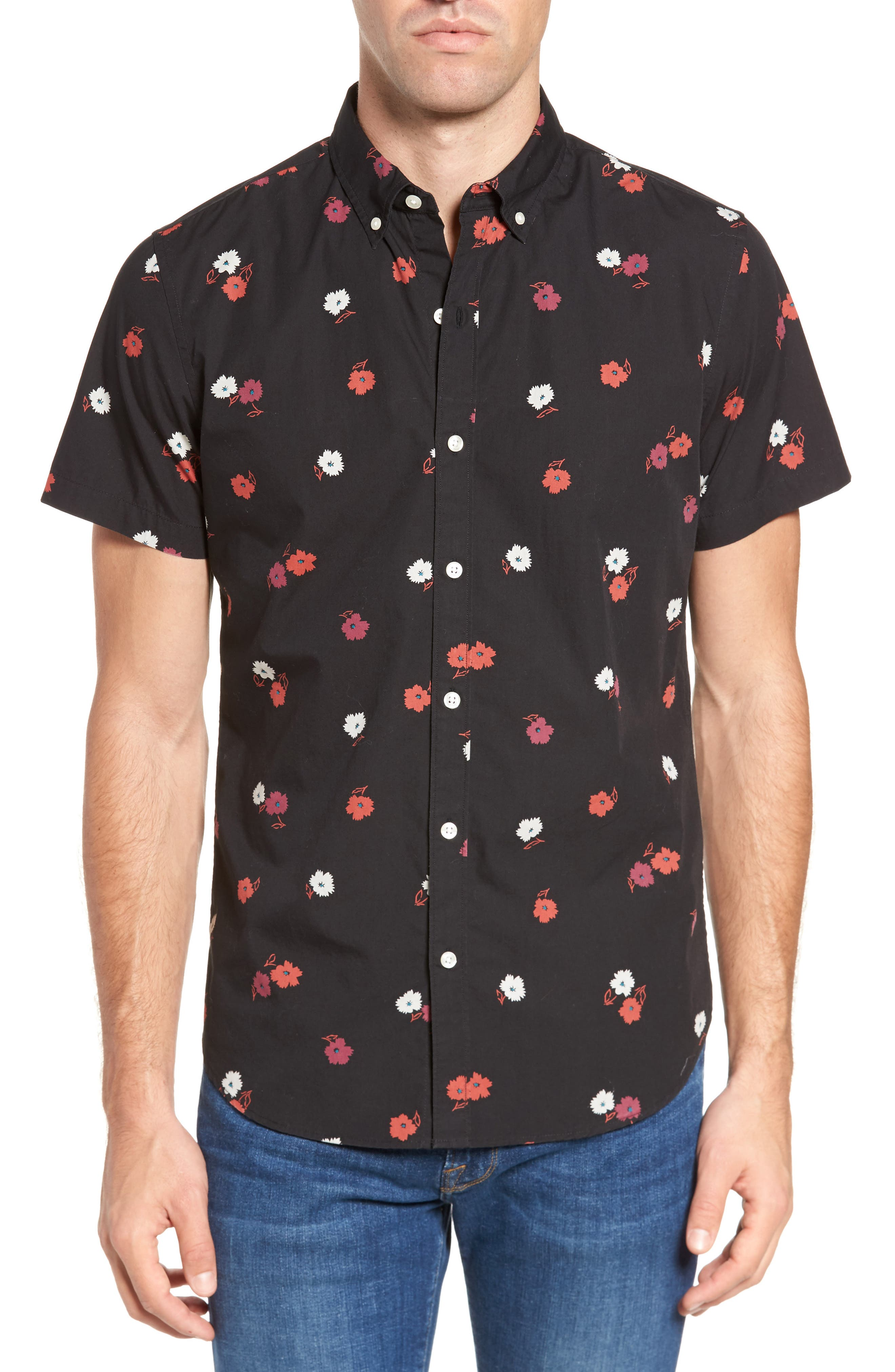 Slim Fit Floral Print Sport Shirt,                             Main thumbnail 1, color,                             001