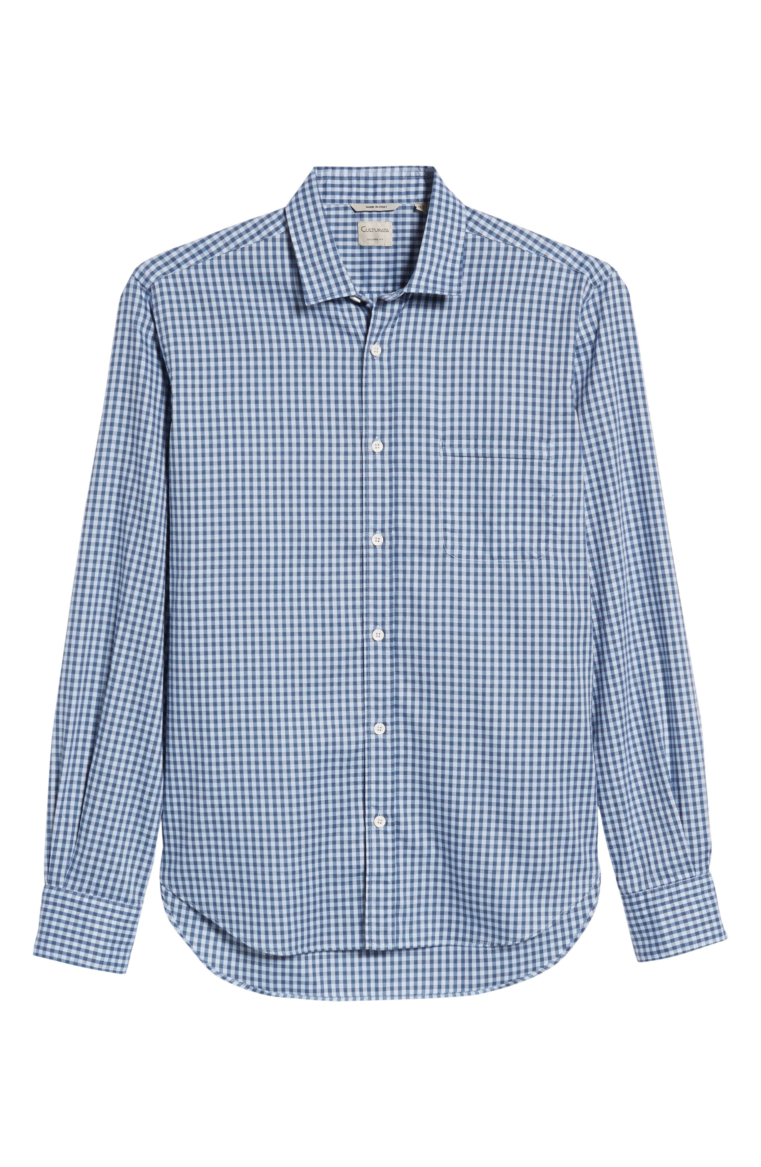 Tailored Fit Gingham Sport Shirt,                             Alternate thumbnail 6, color,                             400