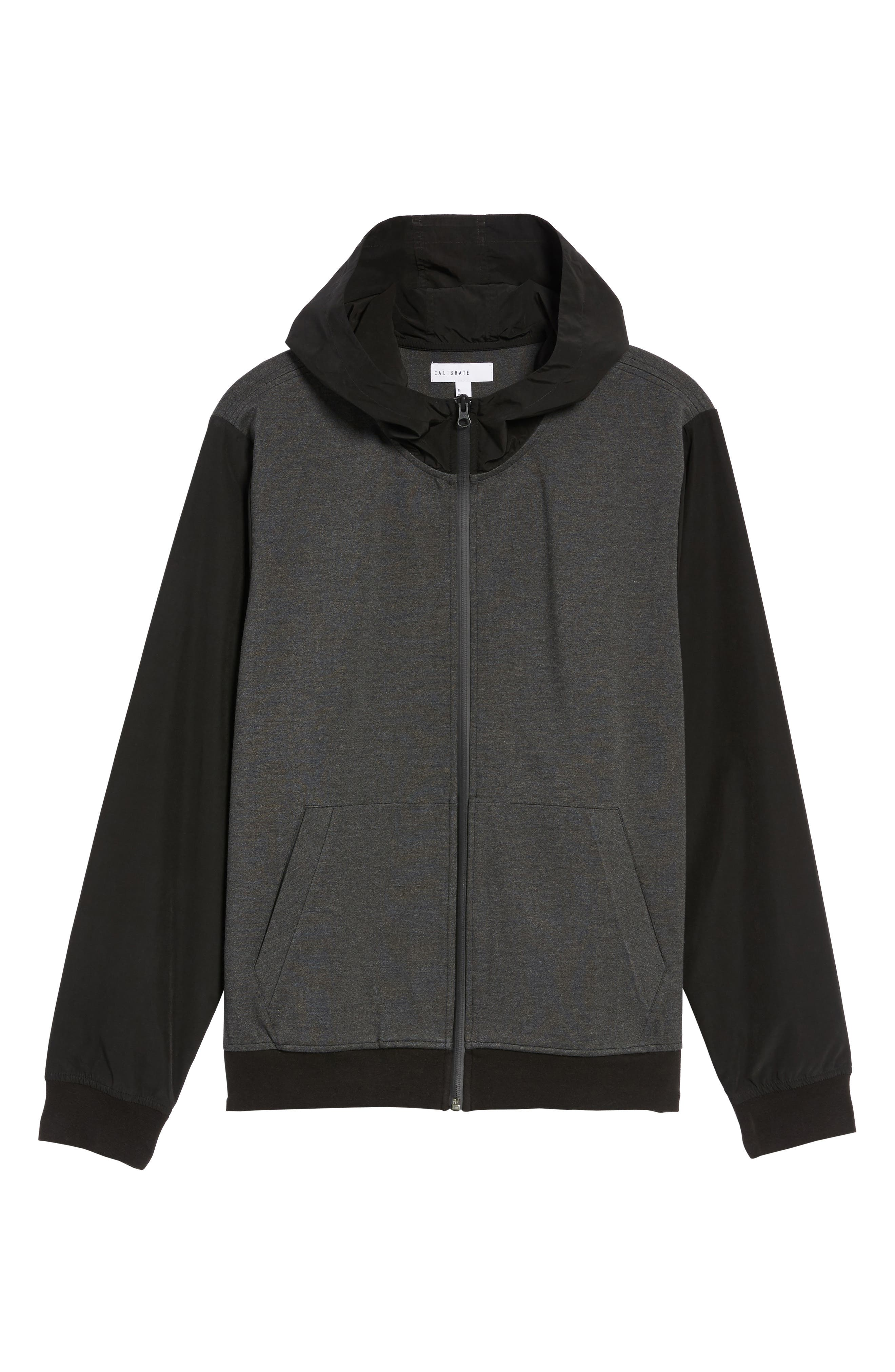 Mixed Media Zip Front Hoodie,                             Alternate thumbnail 6, color,                             020