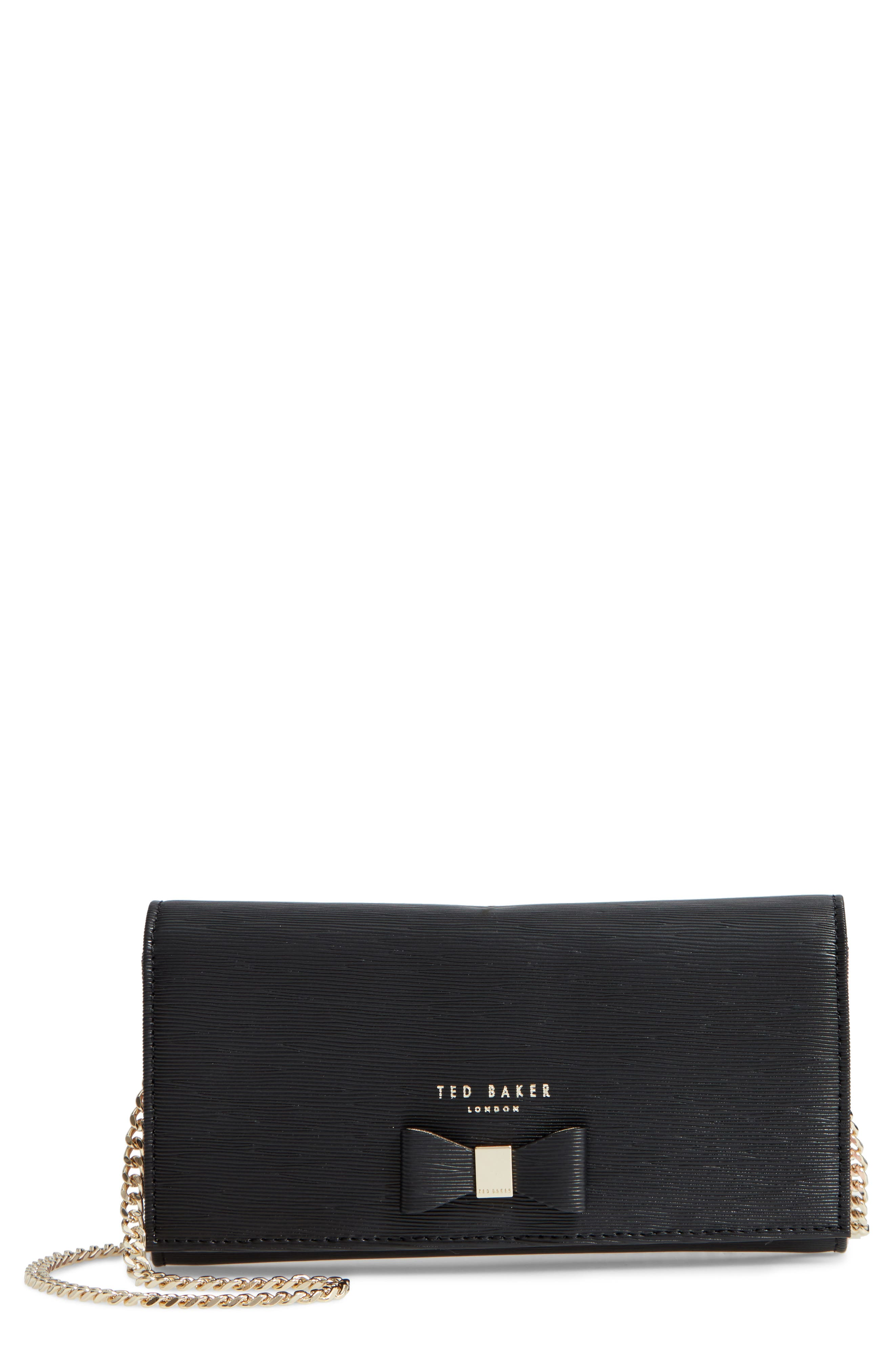 Abriana Bow Matinée Wallet on a Chain,                         Main,                         color, BLACK